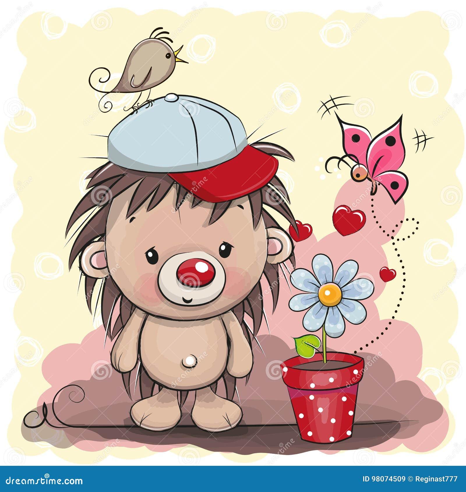 Ouriço bonito dos desenhos animados com flor