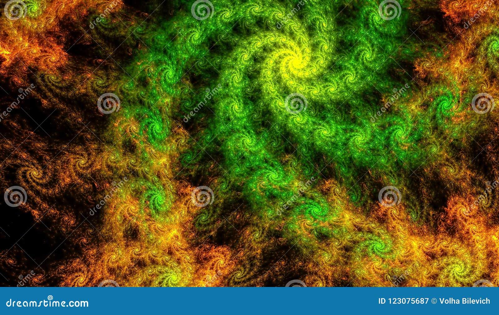 Ouro bonito e fundo verde da incandescência espirais com profundidade de campo e de bokeh 3d a ilustração, 3d rende