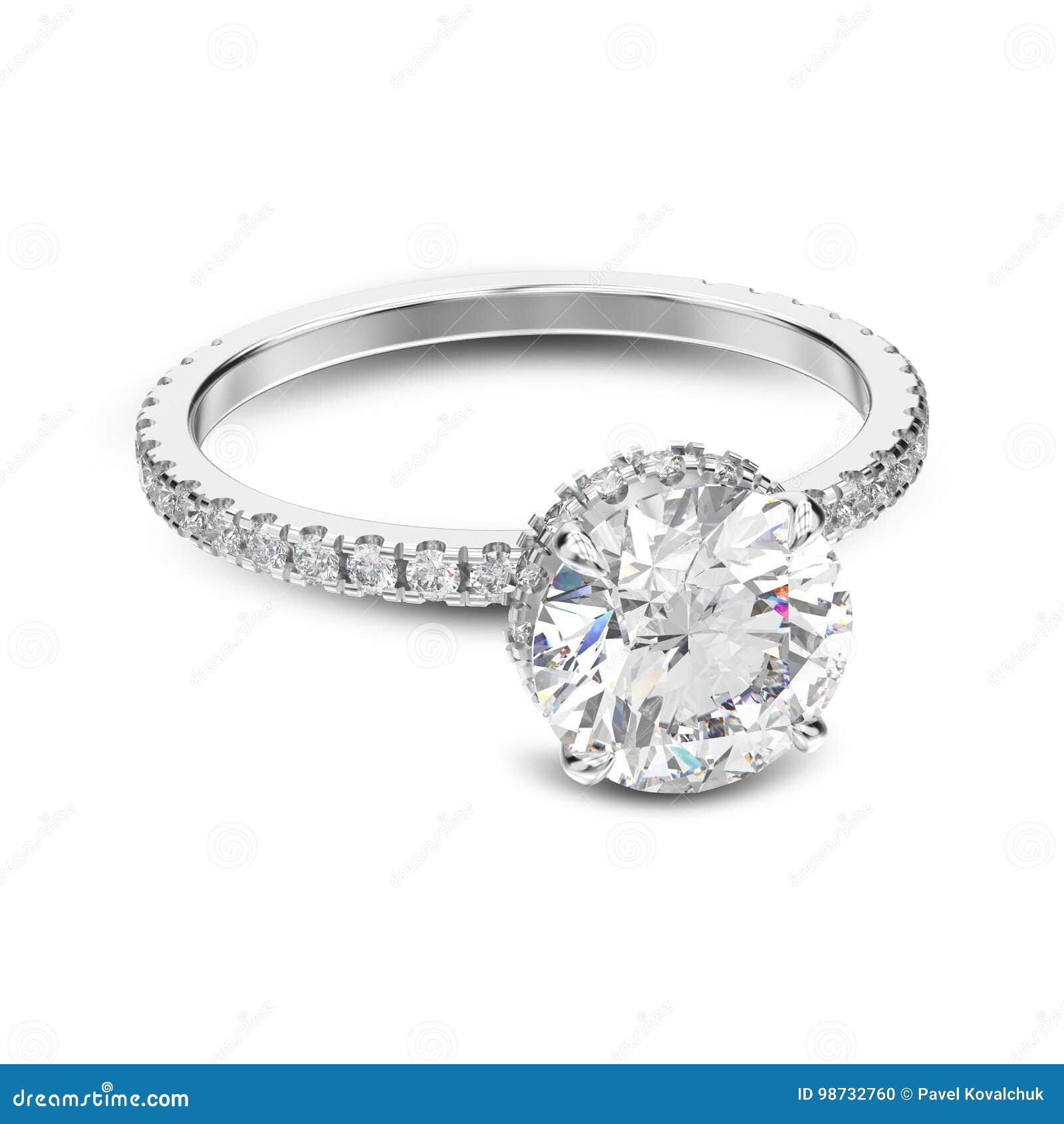 Ouro branco da ilustração 3D ou anel de noivado tradicional de prata com o  diamante com sombra em um fundo branco 1ee69f9715