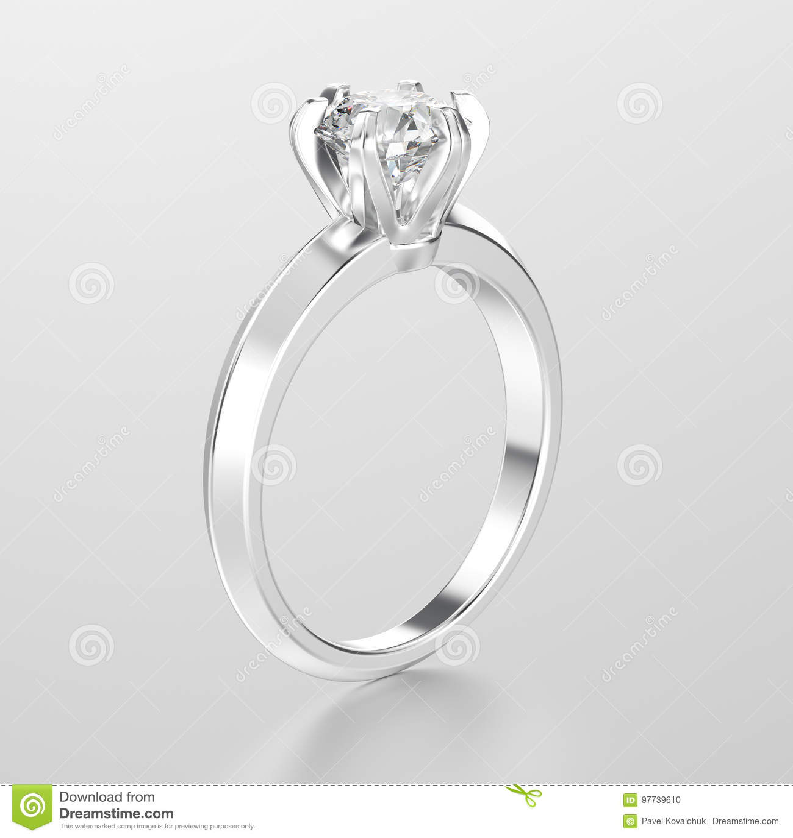 Ouro branco da ilustração 3D ou anel de noivado tradicional de prata do  solitário com o diamante com reflexão em um fundo cinzento 7e350aa61a