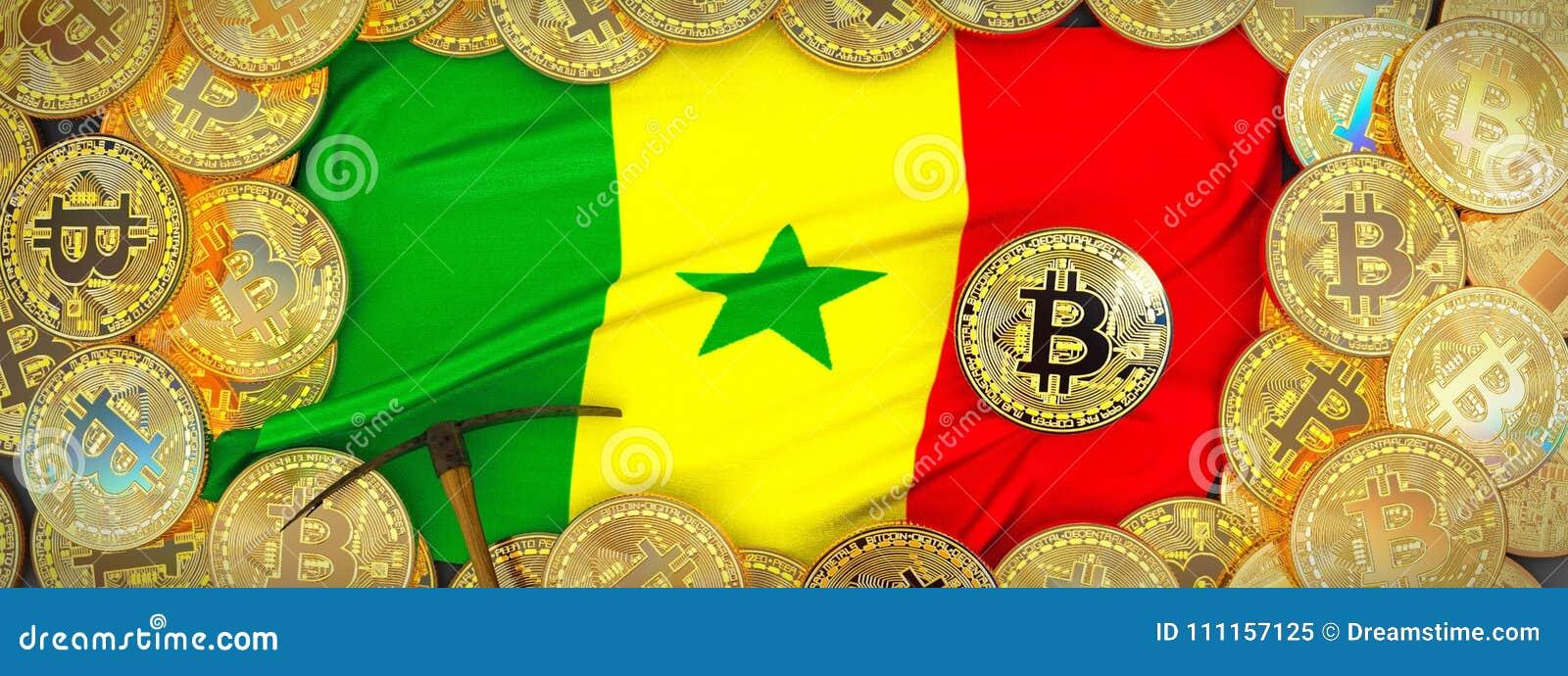 Ouro de Bitcoins em torno da bandeira de Senegal e picareta à esquerda 3d IL