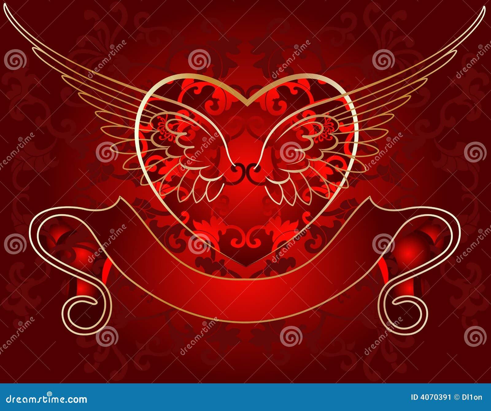 Ouro do coração da asa no vermelho