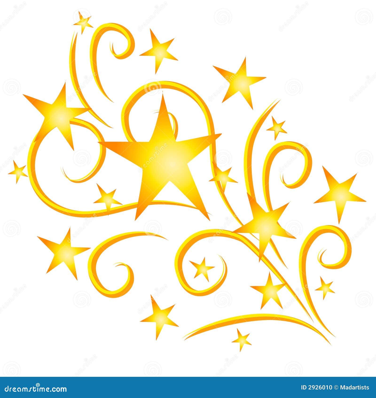 Ouro dos fogos-de-artifício das estrelas de tiro
