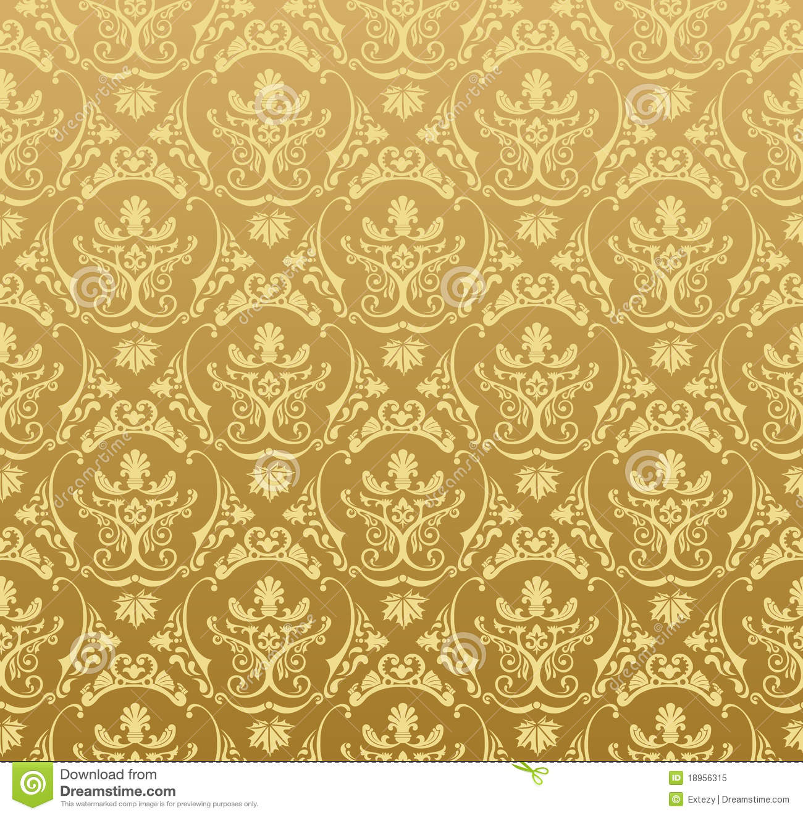 Ouro floral do vintage do fundo sem emenda do papel de - Papel de pared retro ...