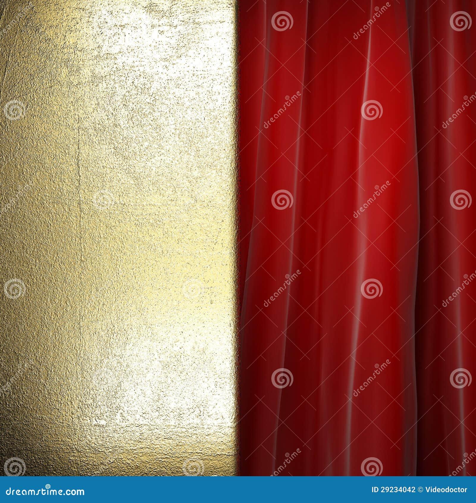 Download Ouro na cortina vermelha ilustração stock. Ilustração de vermelho - 29234042