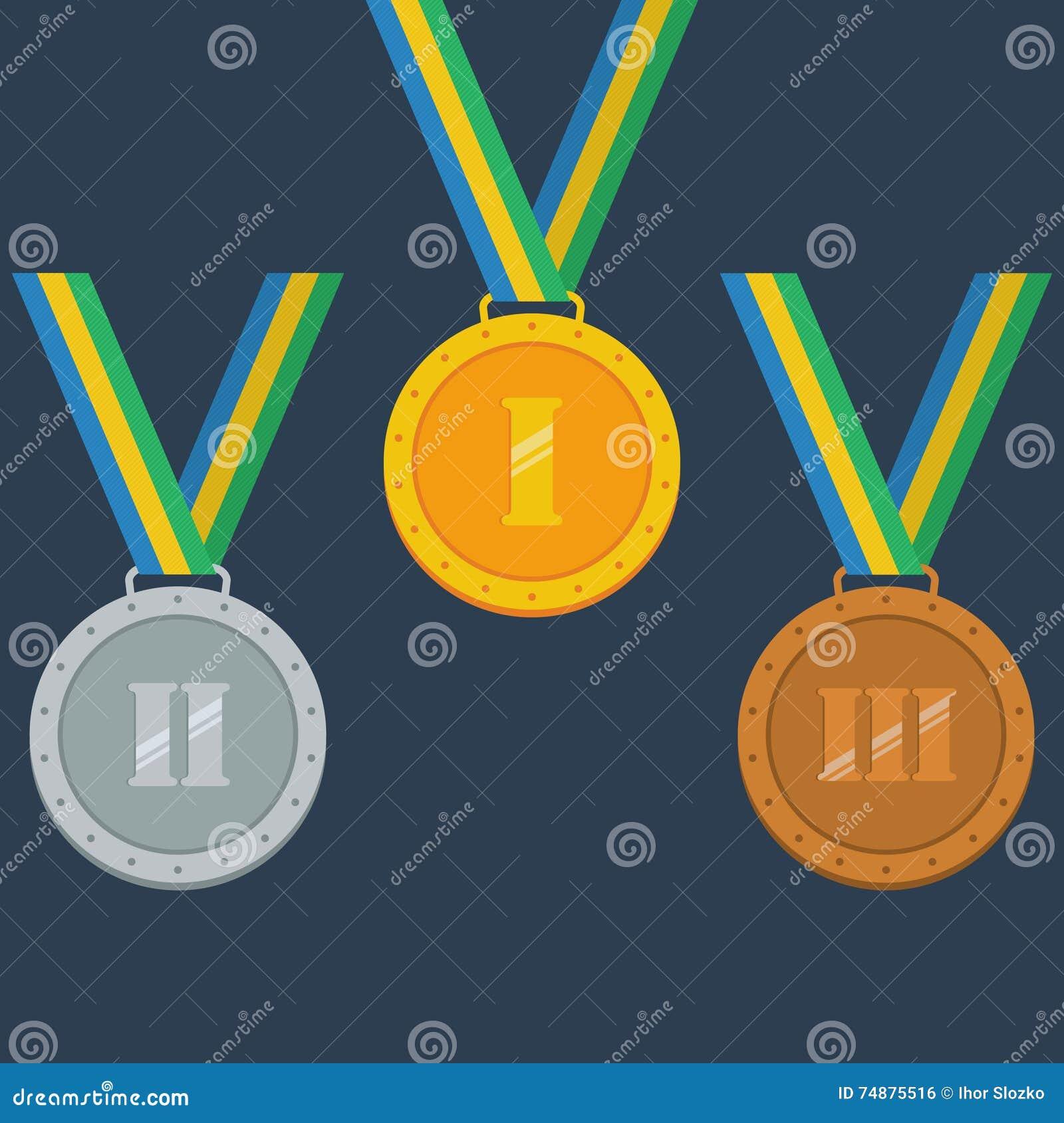 Ouro, prata, medalhas de bronze