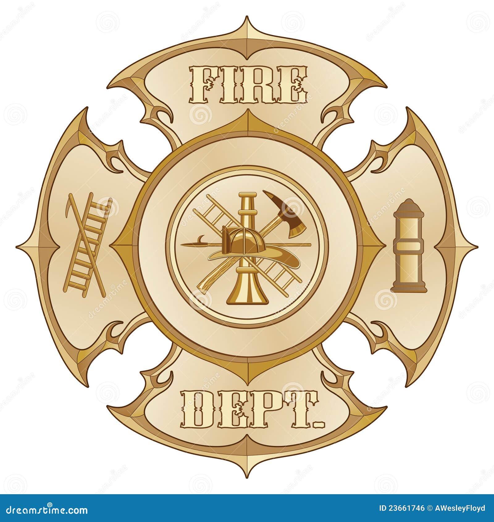 Ouro transversal do vintage do departamento dos bombeiros
