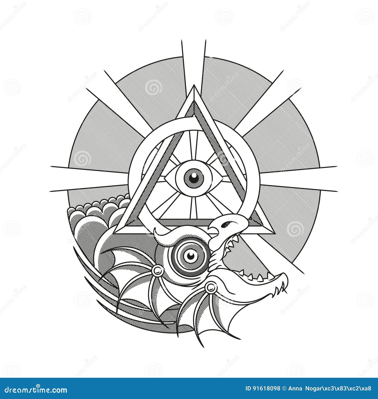 Ouroboros Dragon Tattoo Stock Vector Illustration Of