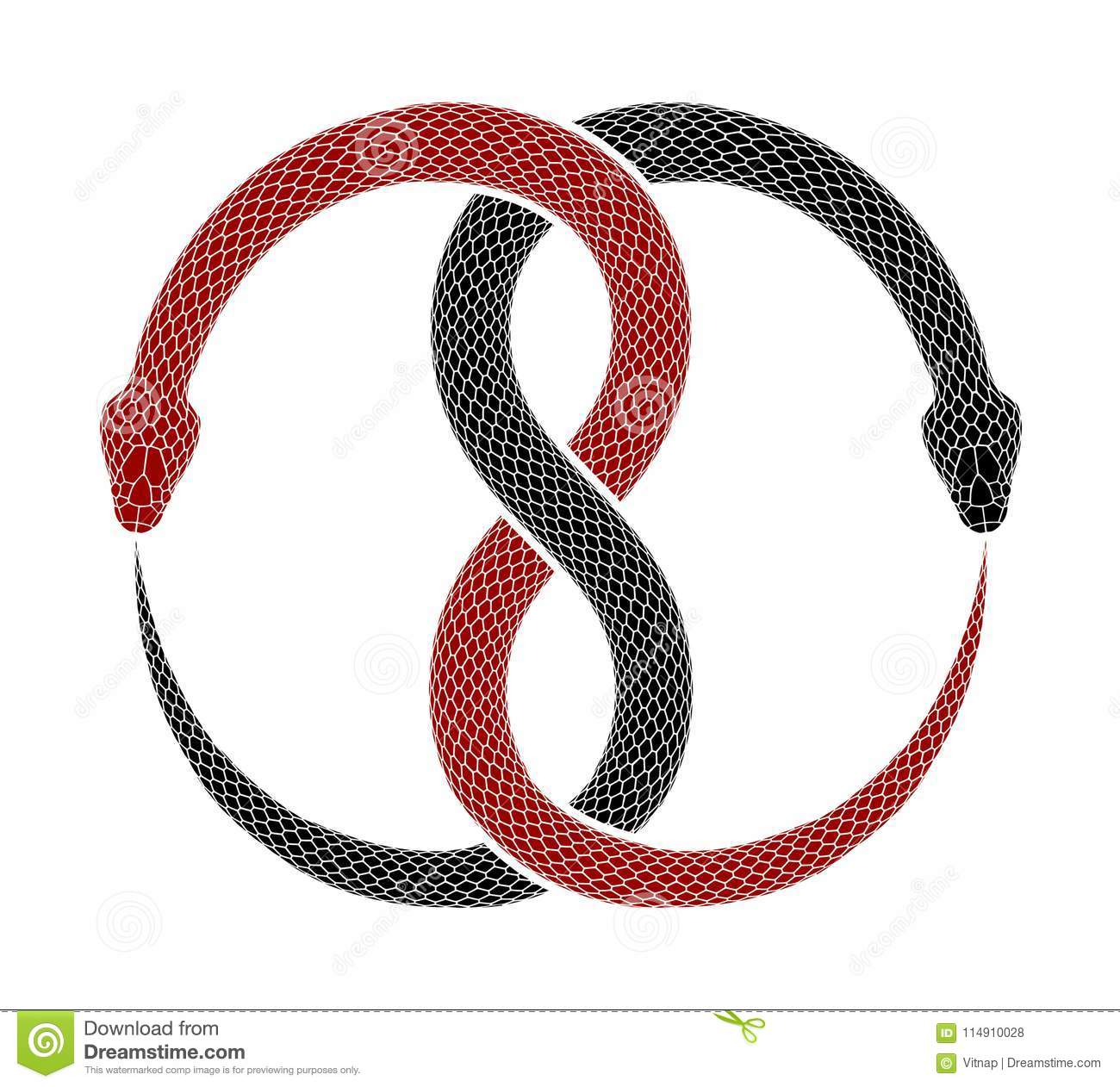 Ouroboros Symbol Tattoo Design Vector Illustration Of Two Intertwined Snakes Eat Their Tails Red And Black Serpents Isolated On A White Background