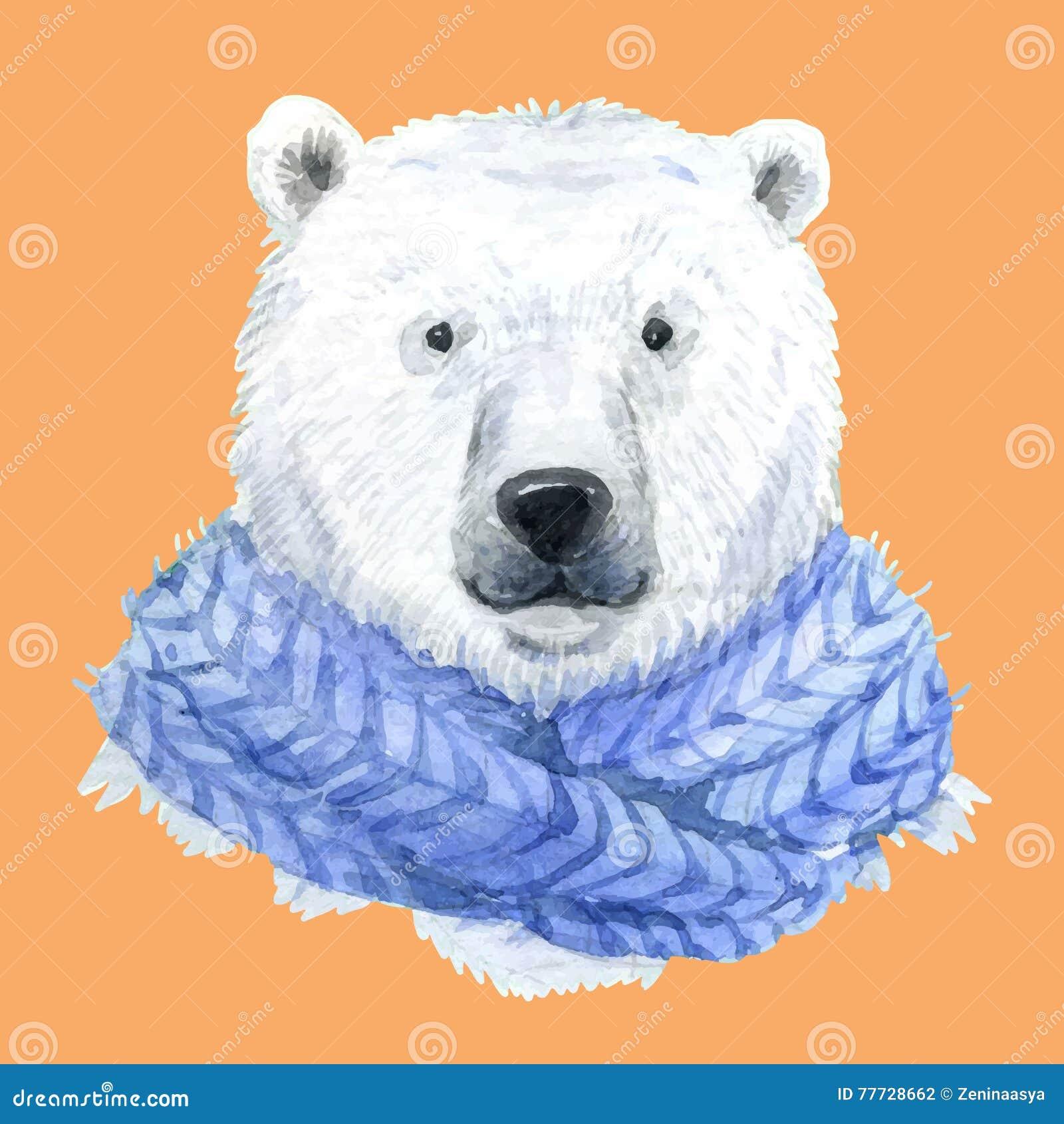 Ours blanc dans une écharpe bleue