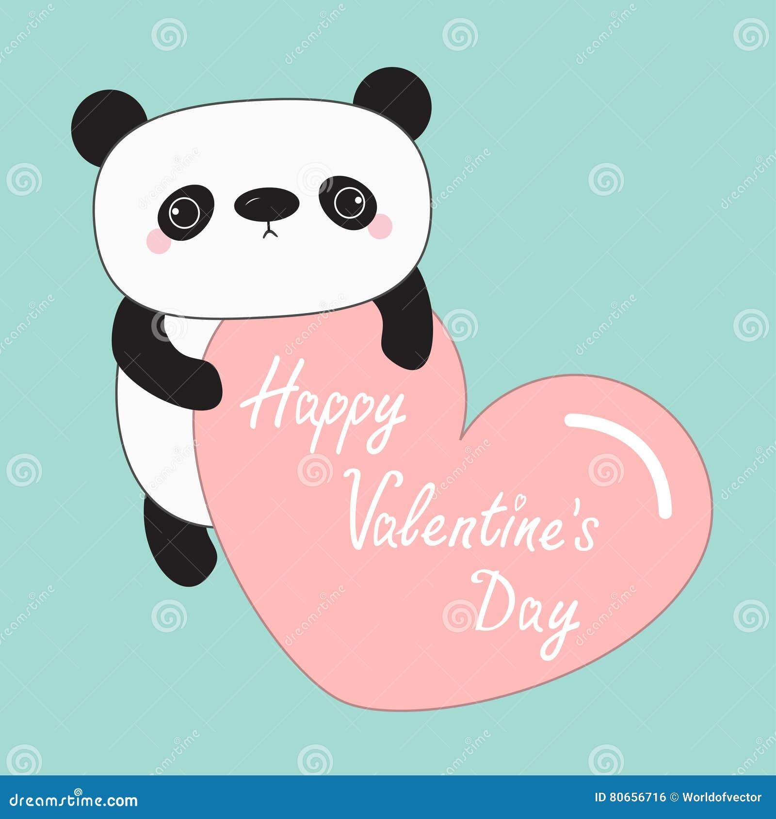 Ours De Bebe De Panda De Kawaii Jour De Valentines Heureux