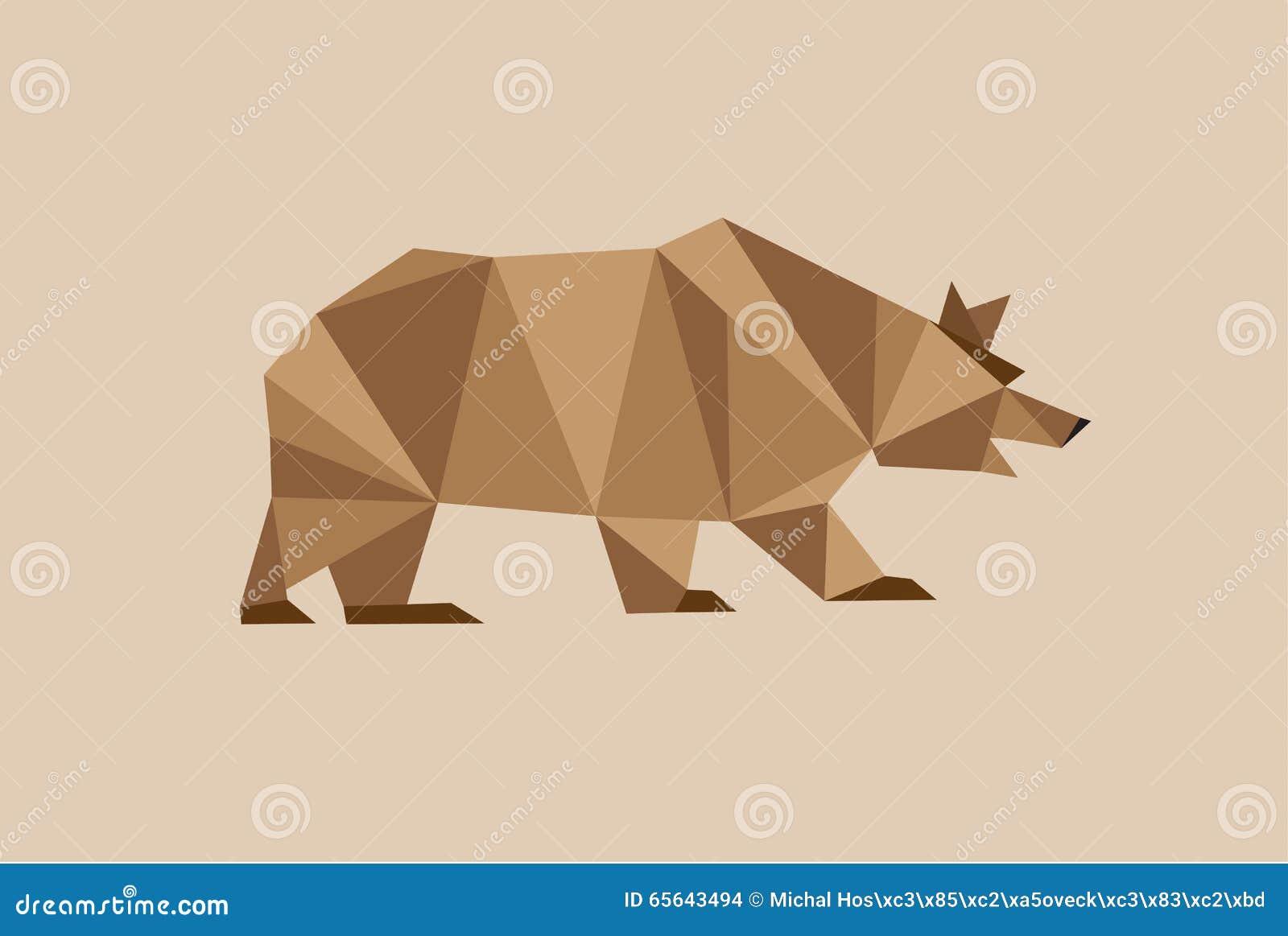 Ours de Brown avec beaucoup de triangles géométriques