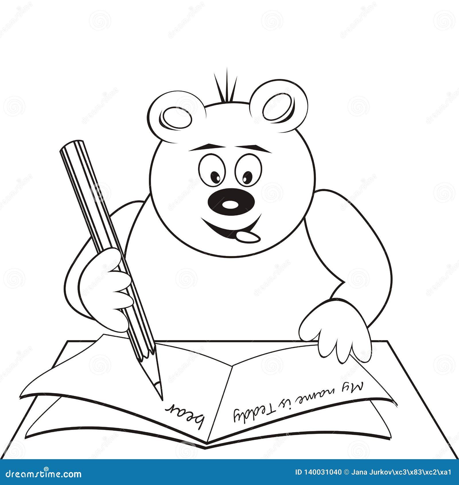 Ours De Nounours A L Ecole Livre De Coloriage Icone De Vecteur Illustration De Vecteur Illustration Du Vecteur Ours 140031040