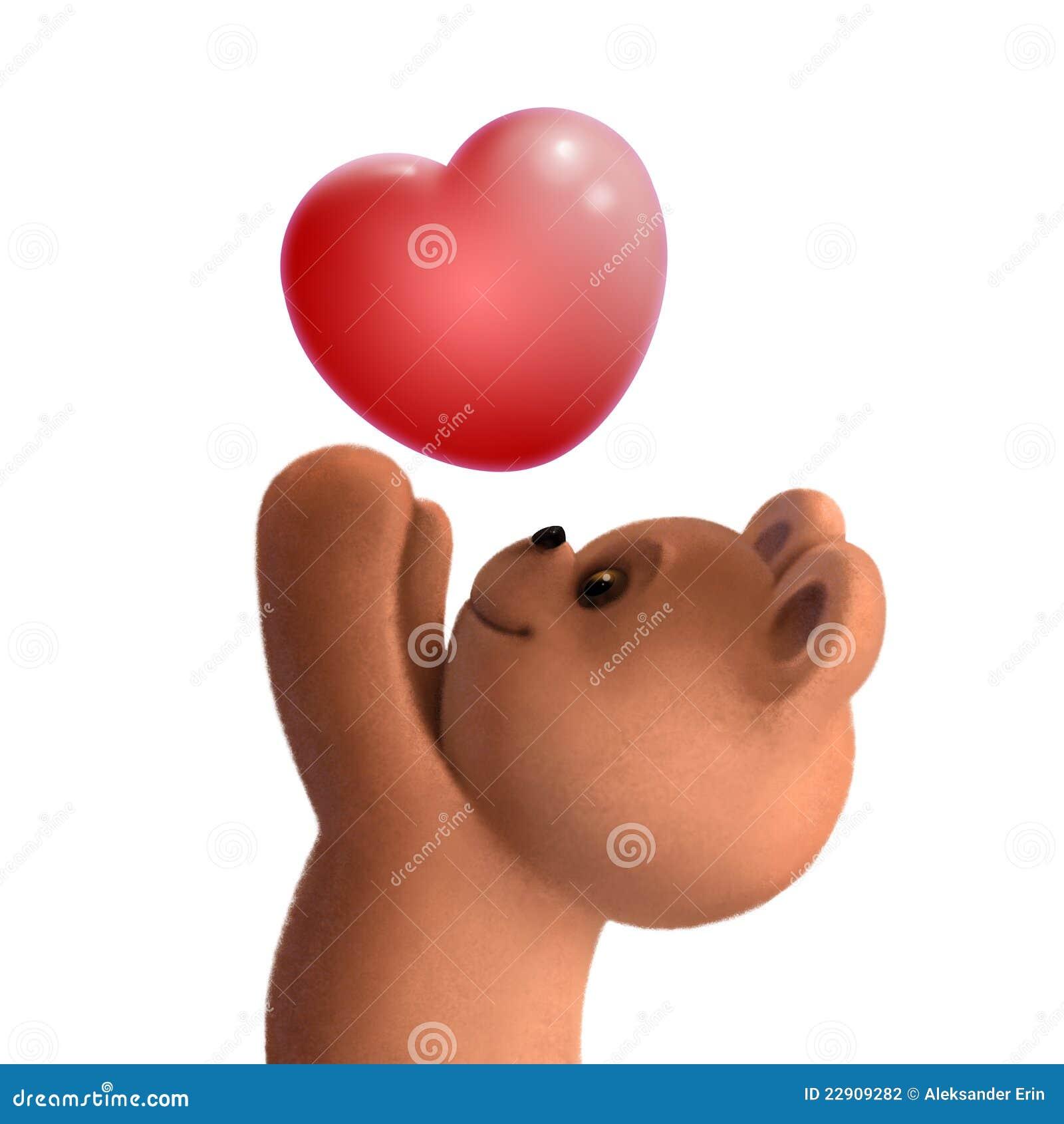 Ours de nounours avec le coeur d 39 amour illustration stock illustration du ours poup e 22909282 - Ceour d amour ...