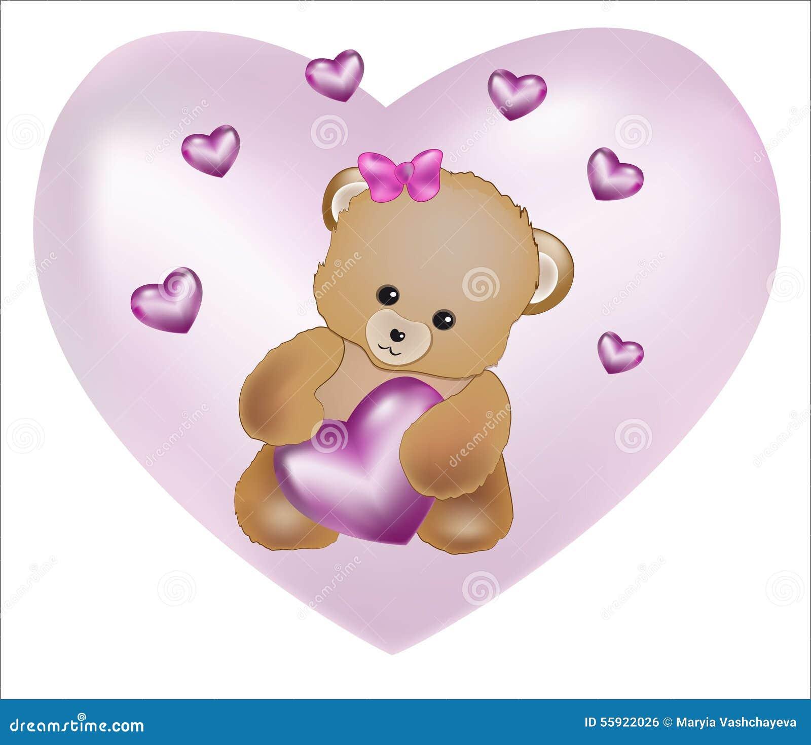 Ours de nounours avec le coeur rose illustration de vecteur illustration du vous jour 55922026 - Coeur nounours ...