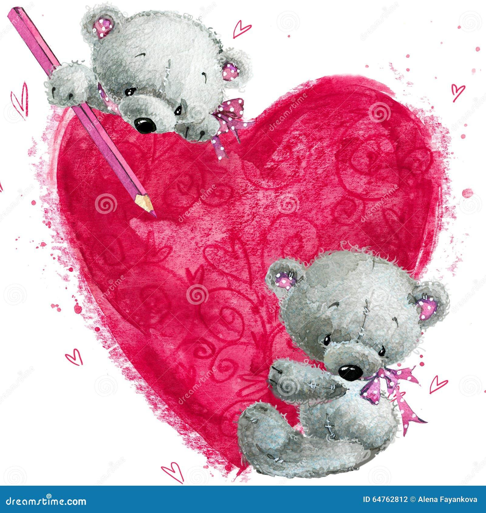 Ours de nounours avec le grand coeur rouge carte de voeux de valentines illustration stock - Coeur nounours ...