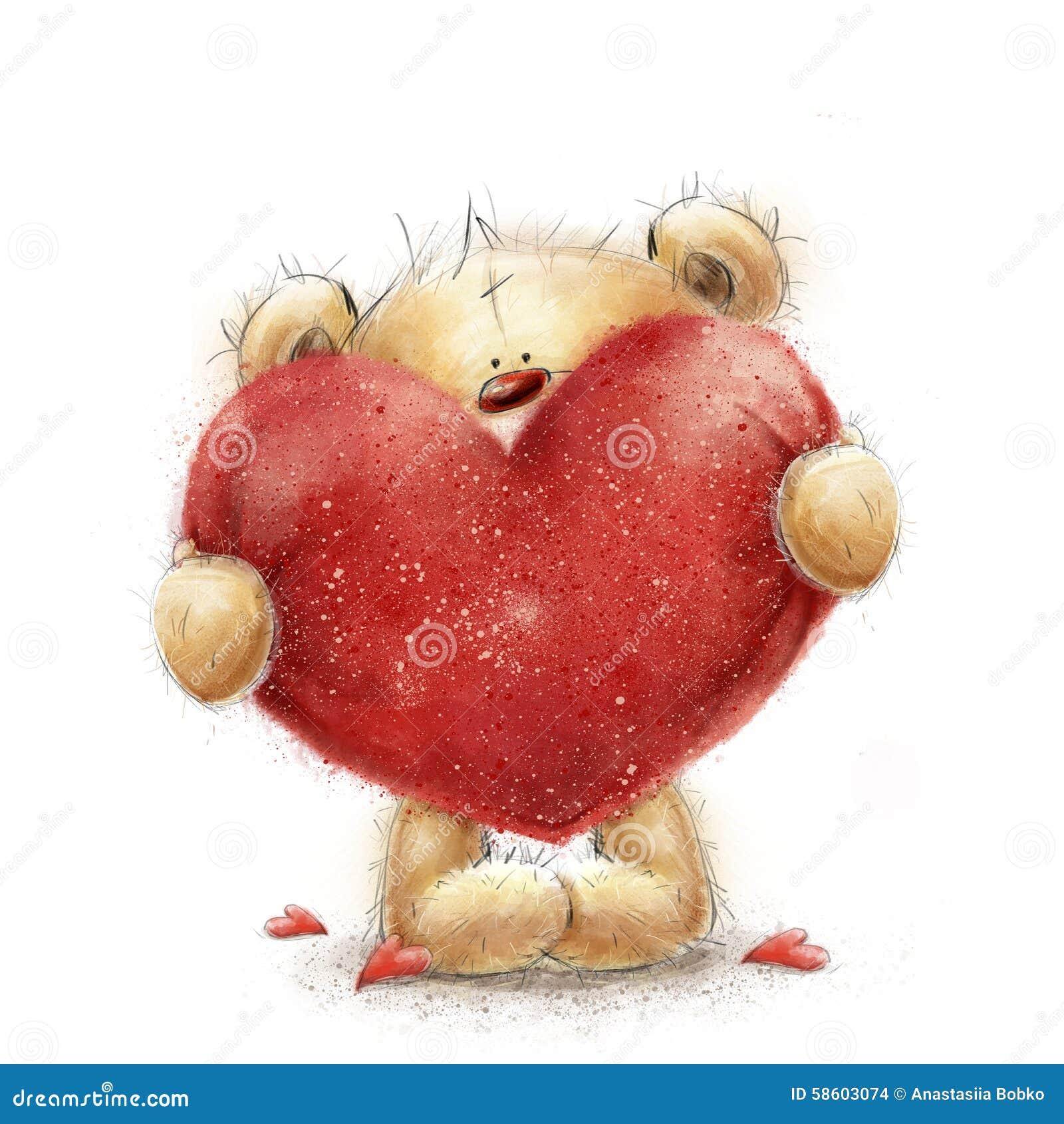 Ours de nounours avec le grand coeur rouge carte de voeux de valentines conception d 39 amour amour - Ceour d amour ...