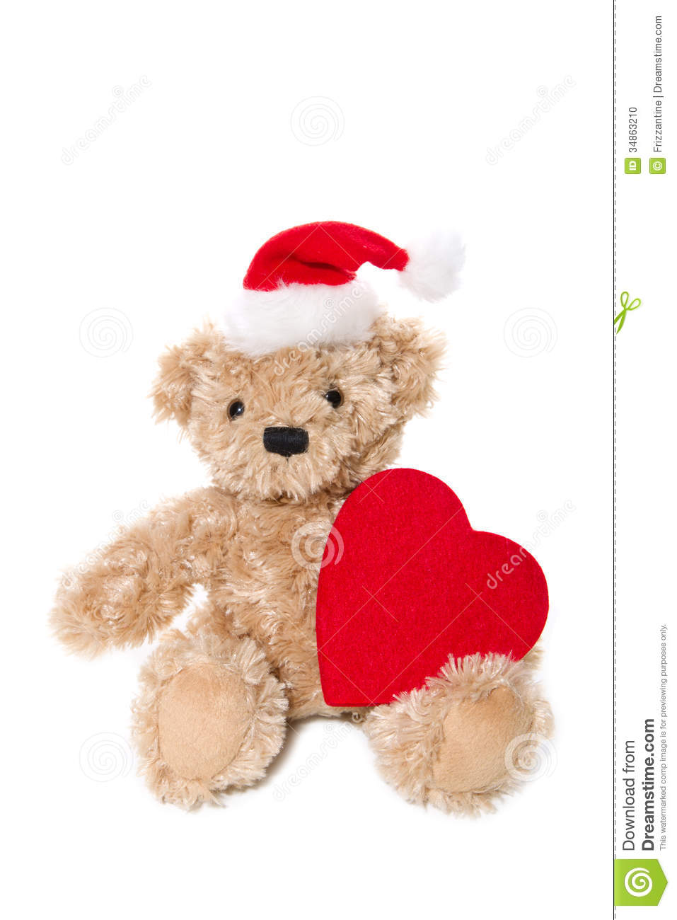 Ours de nounours d 39 isolement de no l avec un coeur rouge photo stock image 34863210 - Nounours noel ...