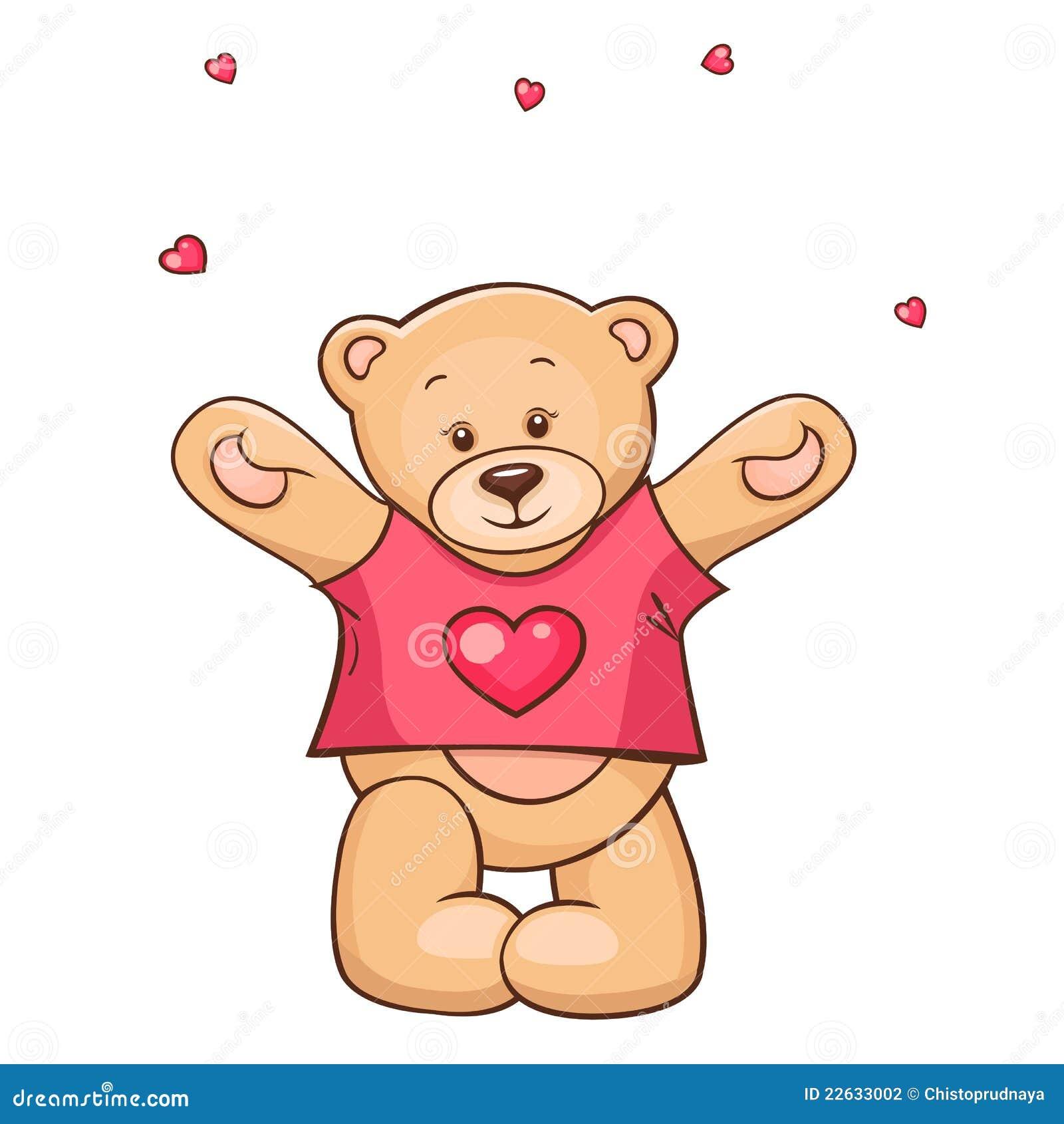 Ours de nounours dans le t shirt de coeur illustration stock illustration du main amusement - Coeur nounours ...
