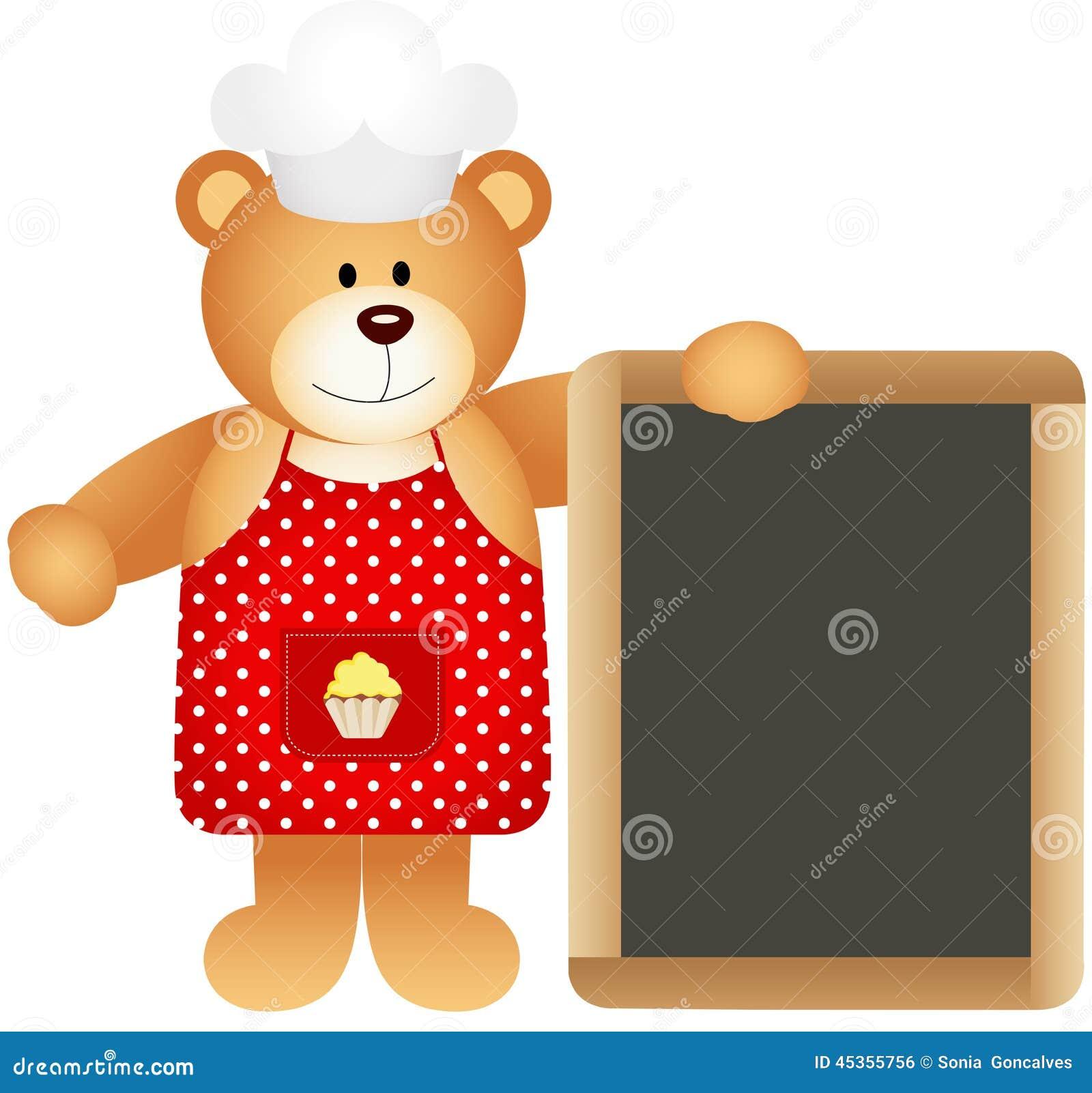 Ours de nounours de cuisinier avec le panneau d ardoise
