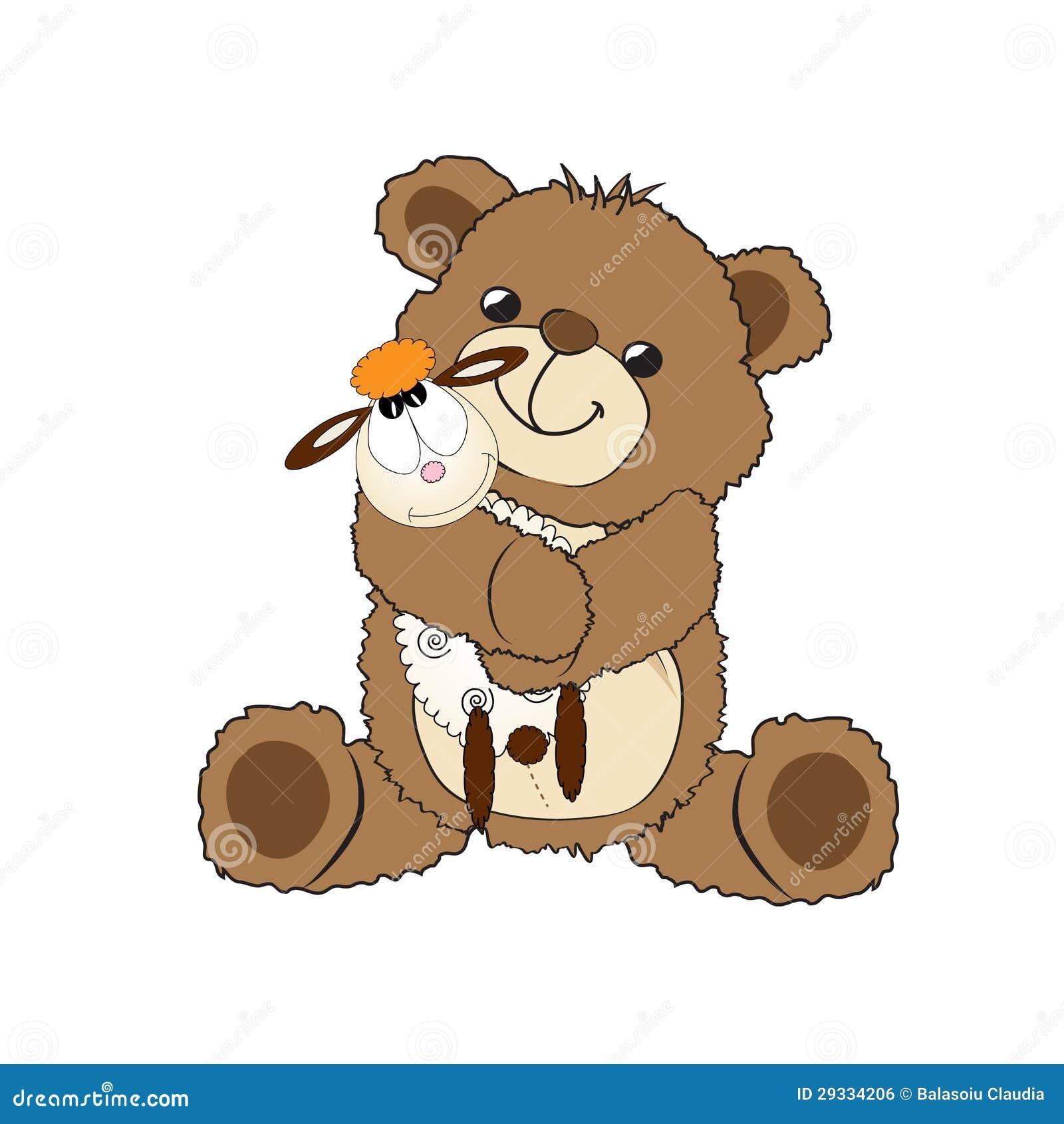 ours de nounours jouant avec son jouet un petit mouton