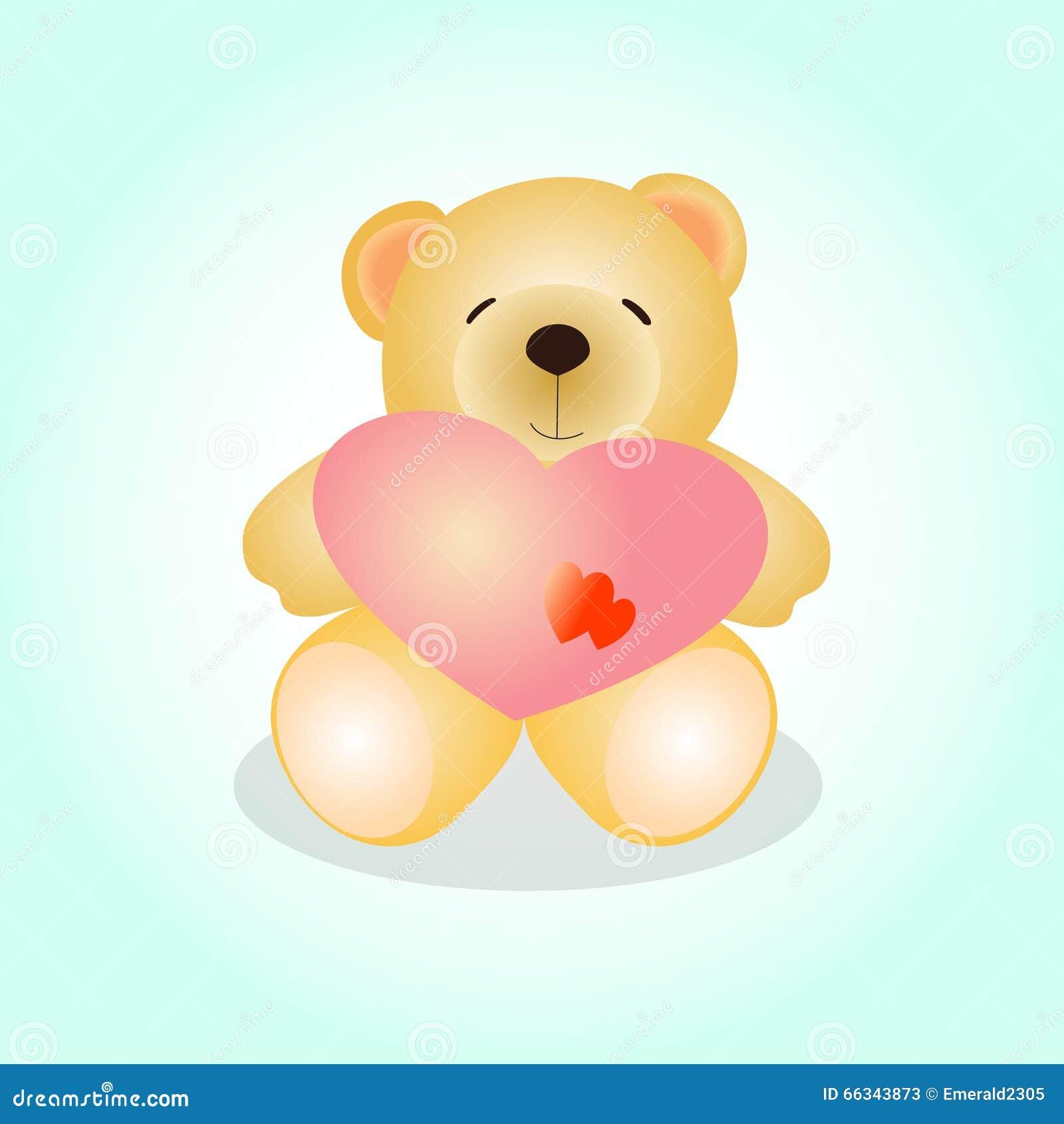 Ours de nounours mignon avec le coeur rose illustration de vecteur image 66343873 - Coeur nounours ...