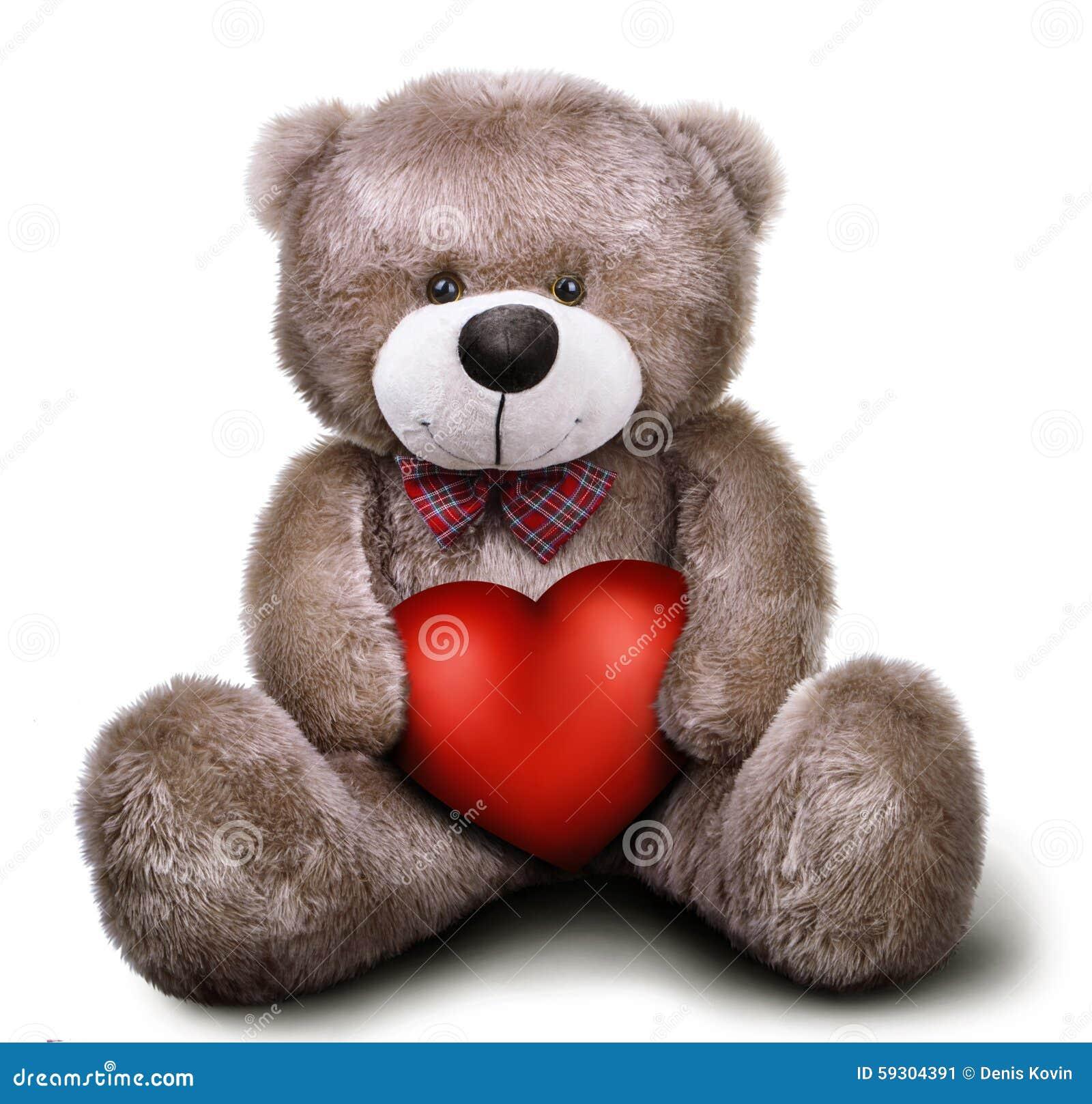 ours de nounours mol de jouet avec le coeur de valentine image stock