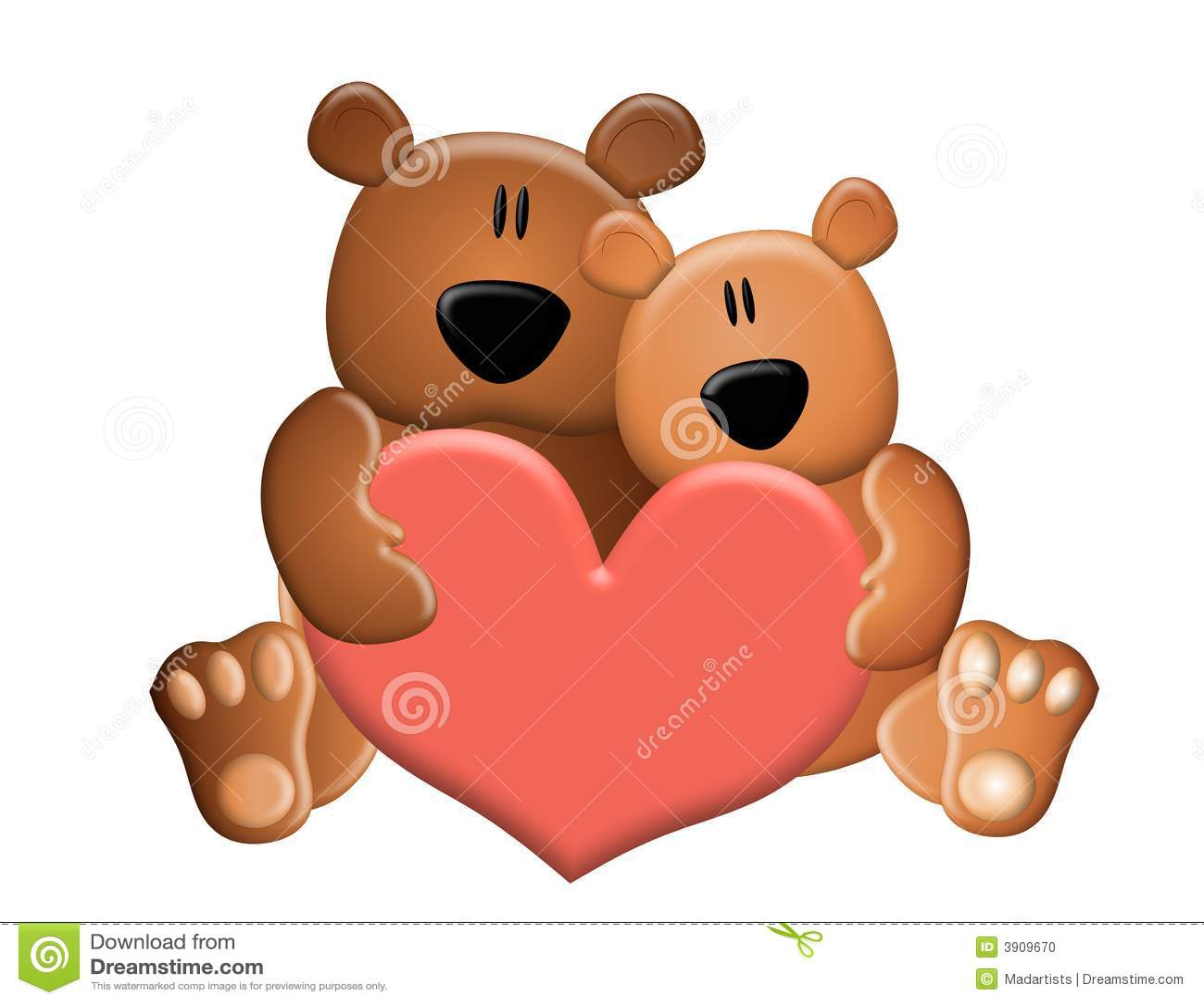 Ours de nounours retenant le coeur de Valentine