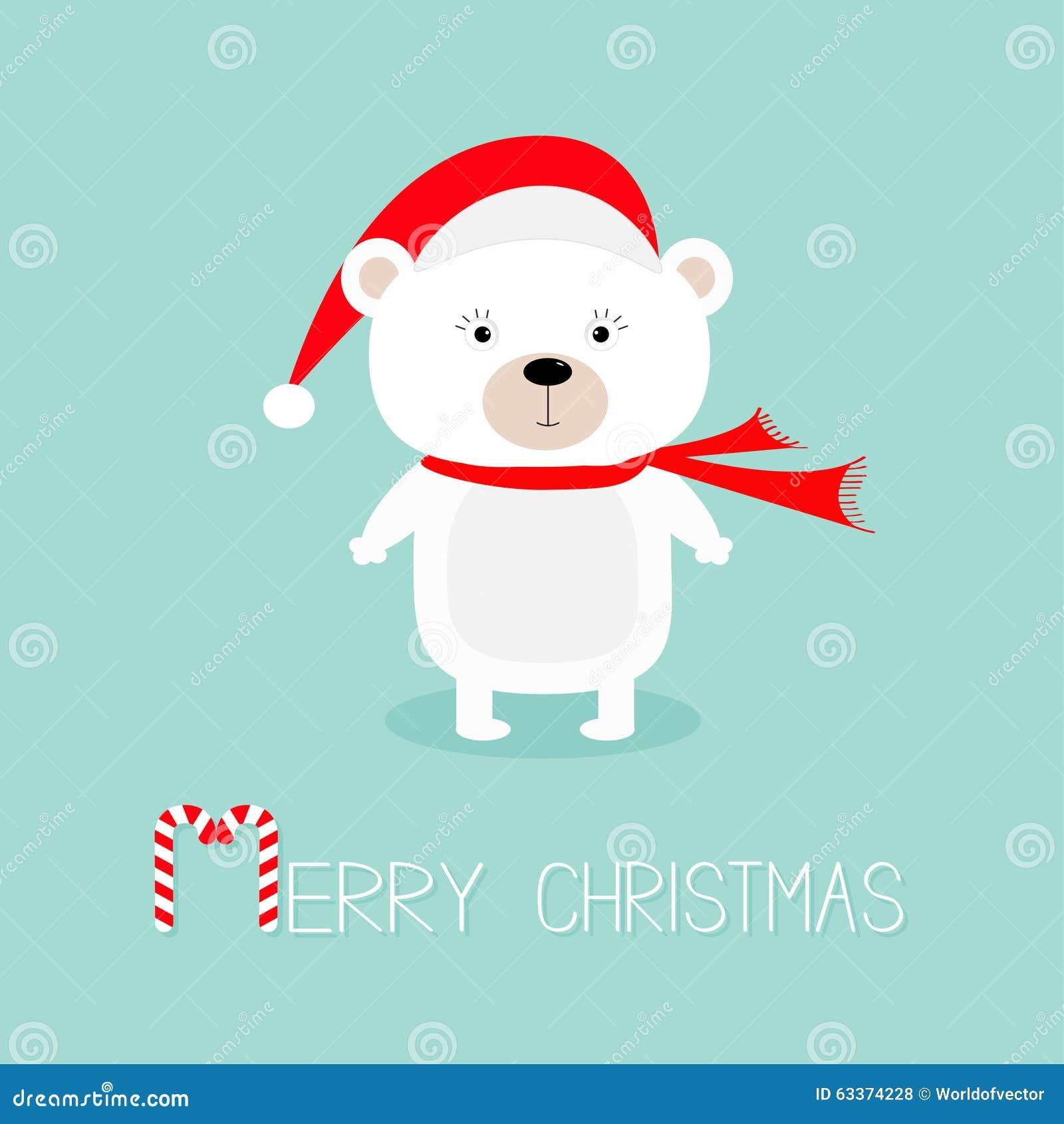 14592f0e01d1 Grand ours polaire blanc de bébé dans le chapeau du père noël et l écharpe,  patte Canne de sucrerie Carte de voeux de Joyeux Noël Fond pour une carte  ...
