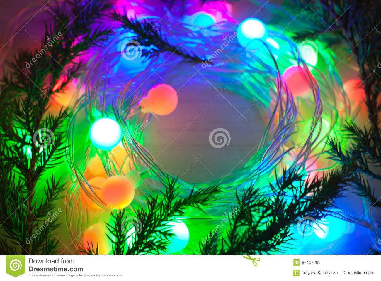 Out Of Focus Colored Lights And Garlands Of Christmas Tree Branc ...
