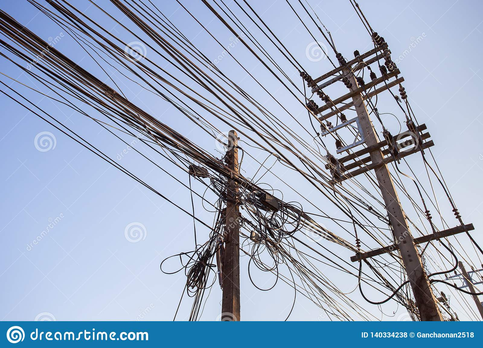 Out of focus, Messy electrical cables in India