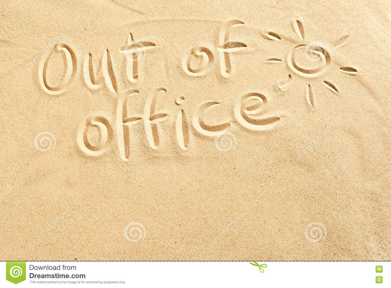 Super Out Of Office Sign On Beach Sand Stock Photo - Image of sketch  WO22
