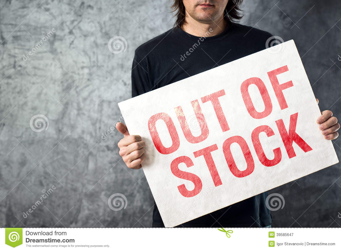 out of stock sign in hands of storage employee stock photo image 39585647. Black Bedroom Furniture Sets. Home Design Ideas