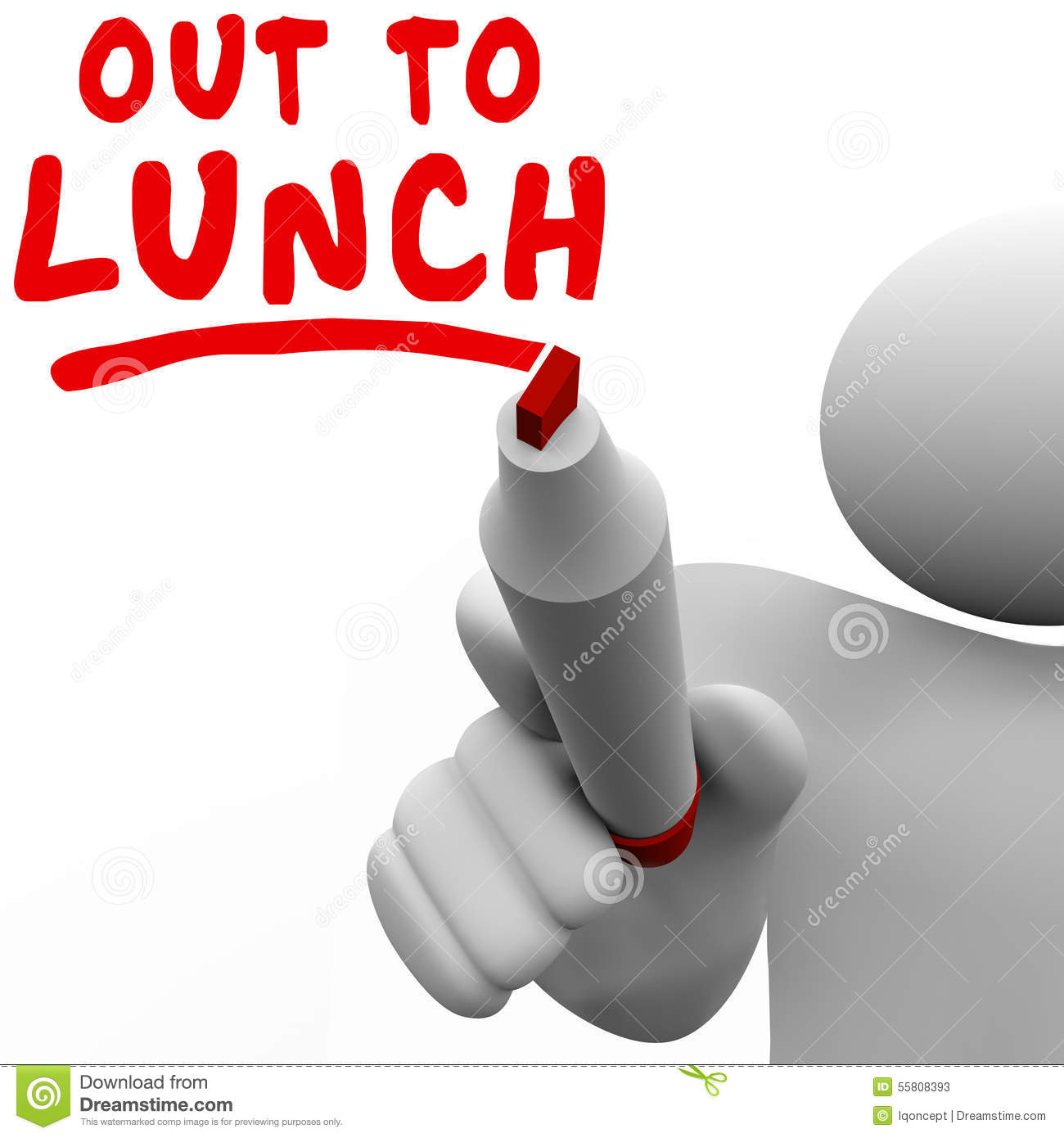 Out To Lunch Message Royalty Free Stock Photography - Image: 28035467