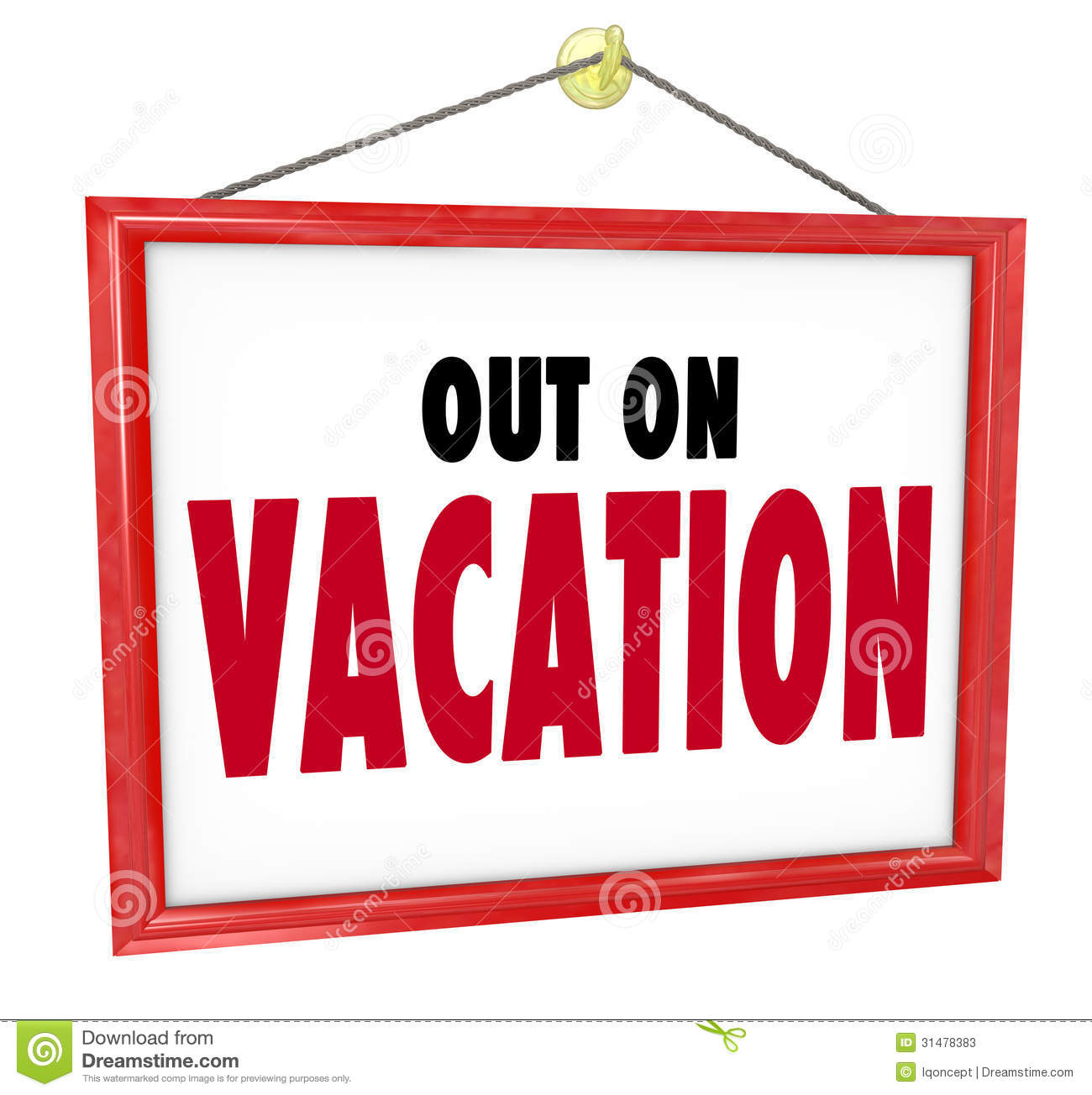 Out on vacation hanging sign store office closed stock illustration out on vacation hanging sign store office closed maxwellsz