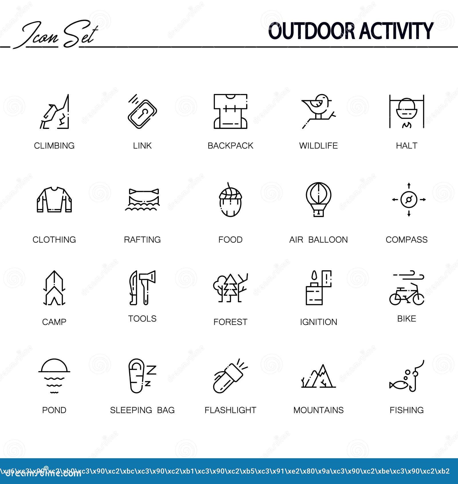 Outdoor Activity Icon Set Cartoon Vector