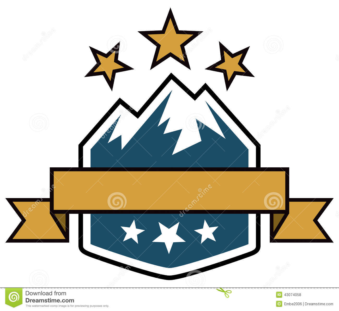logo of a mountain range and stars in this outdoor adventure logo ...