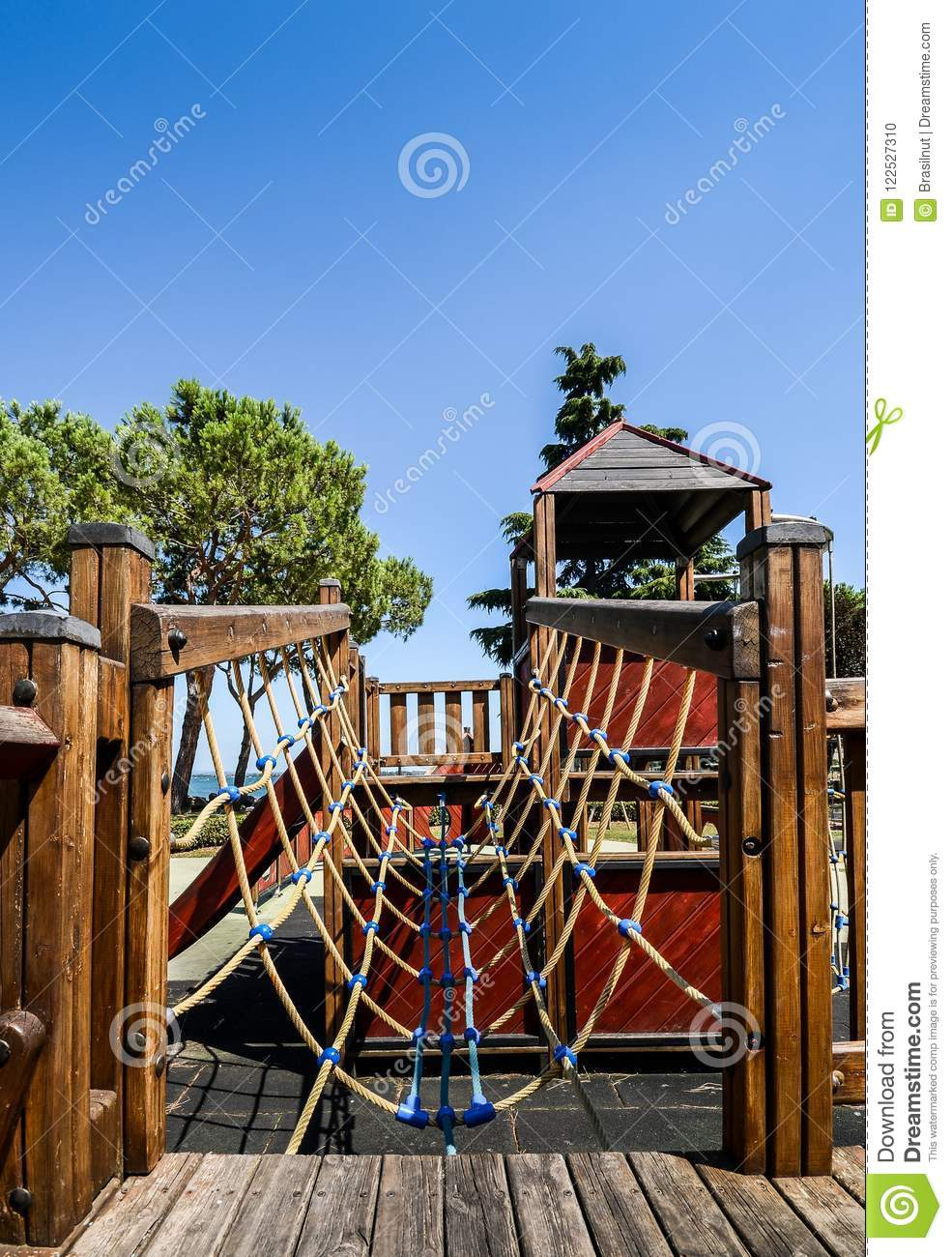 Outdoor adventure playground for kids overlooking beautiful Lake Garda in Lombardy Italy
