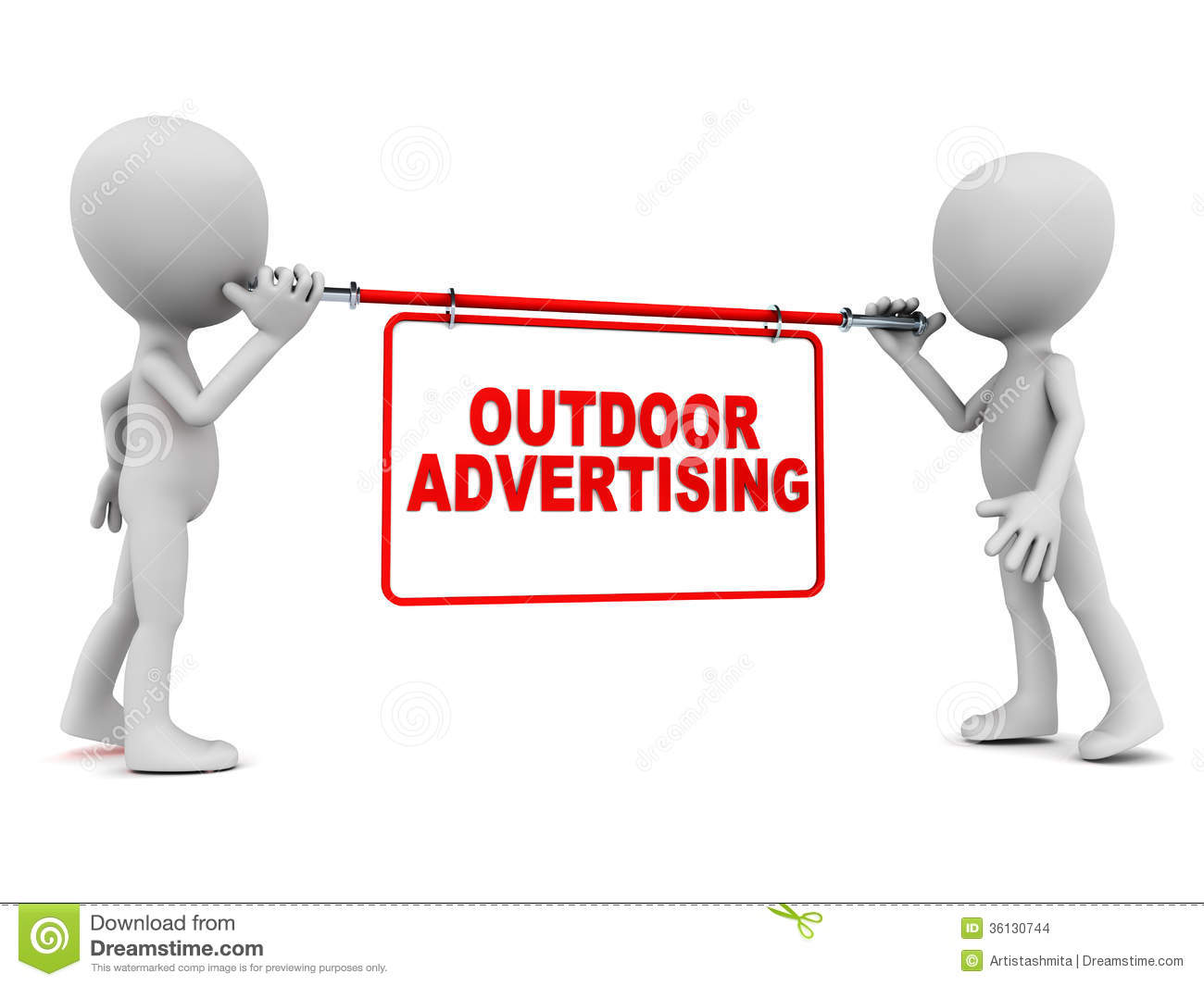 ... advertising concept, little men holding a display banner on white