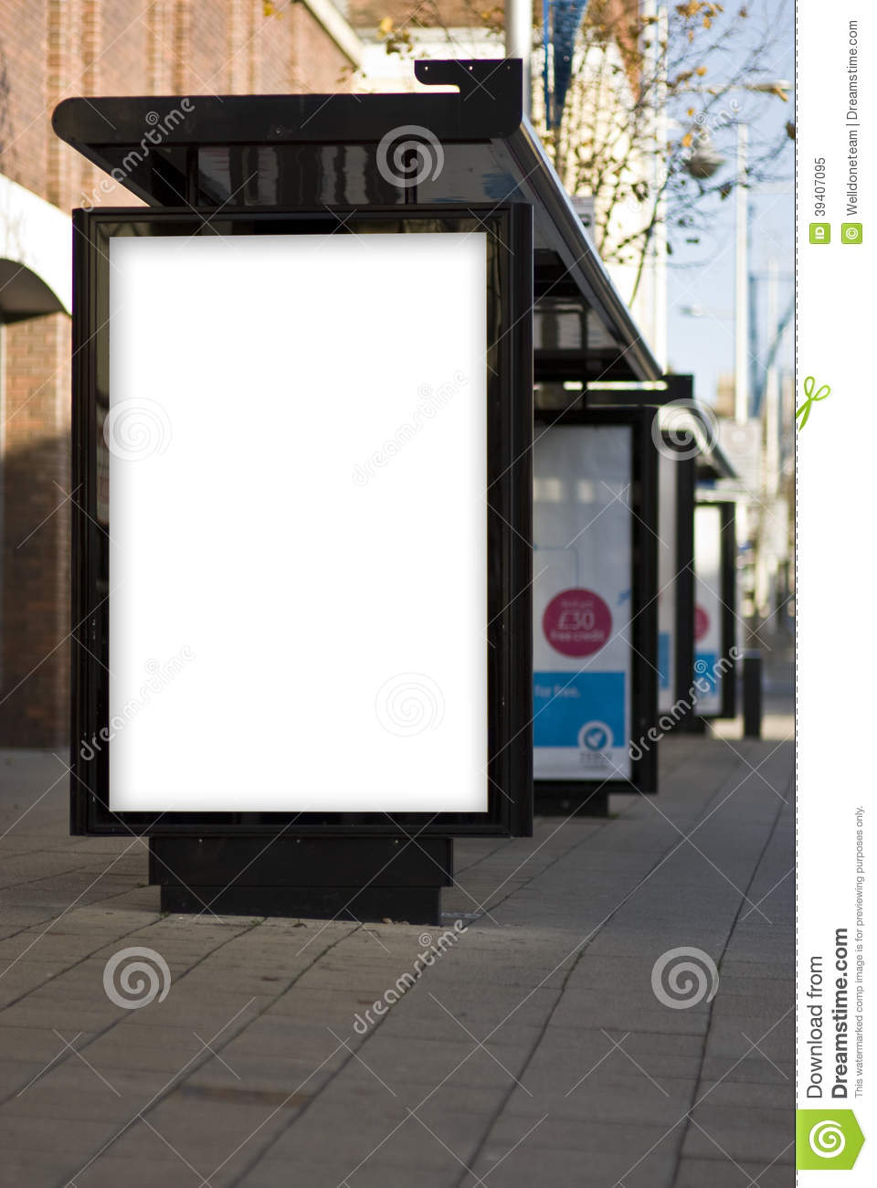 outdoor advertising mockup template stock image
