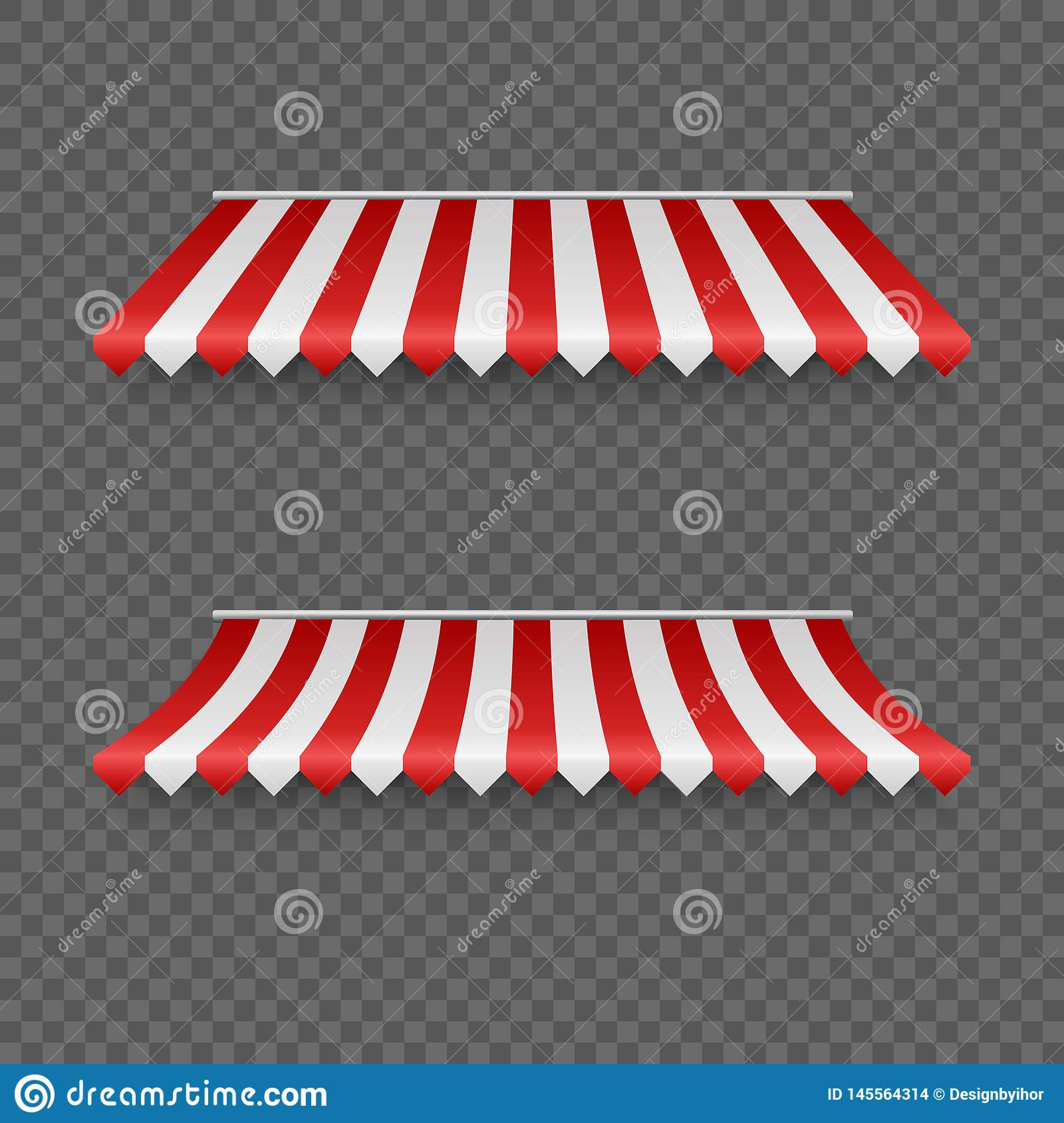 Outdoor awnings. Striped tents or textile roof for marketplace. Red and white sunshade. Vector illustration