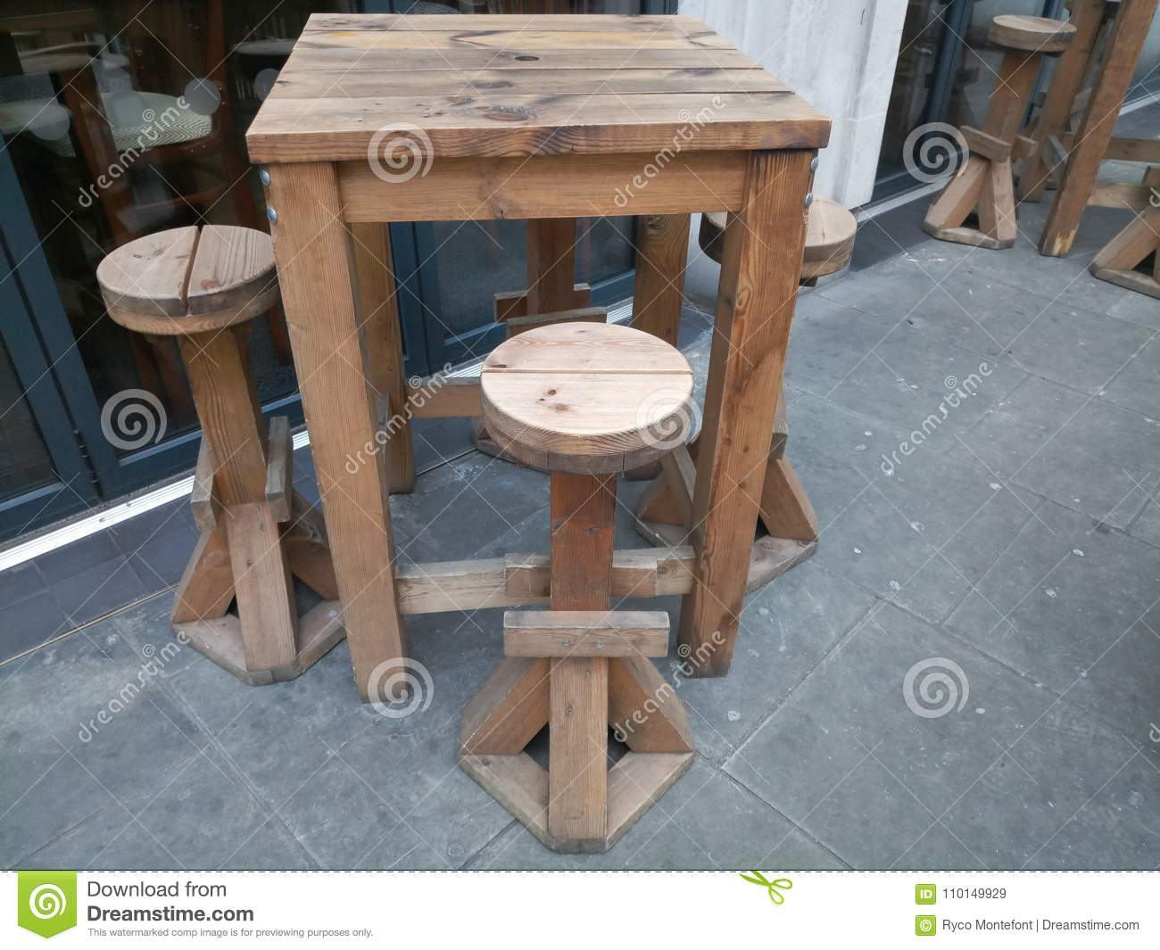 Picture of: Outdoor Bar Table Stock Image Image Of Wooden Outdoor 110149929