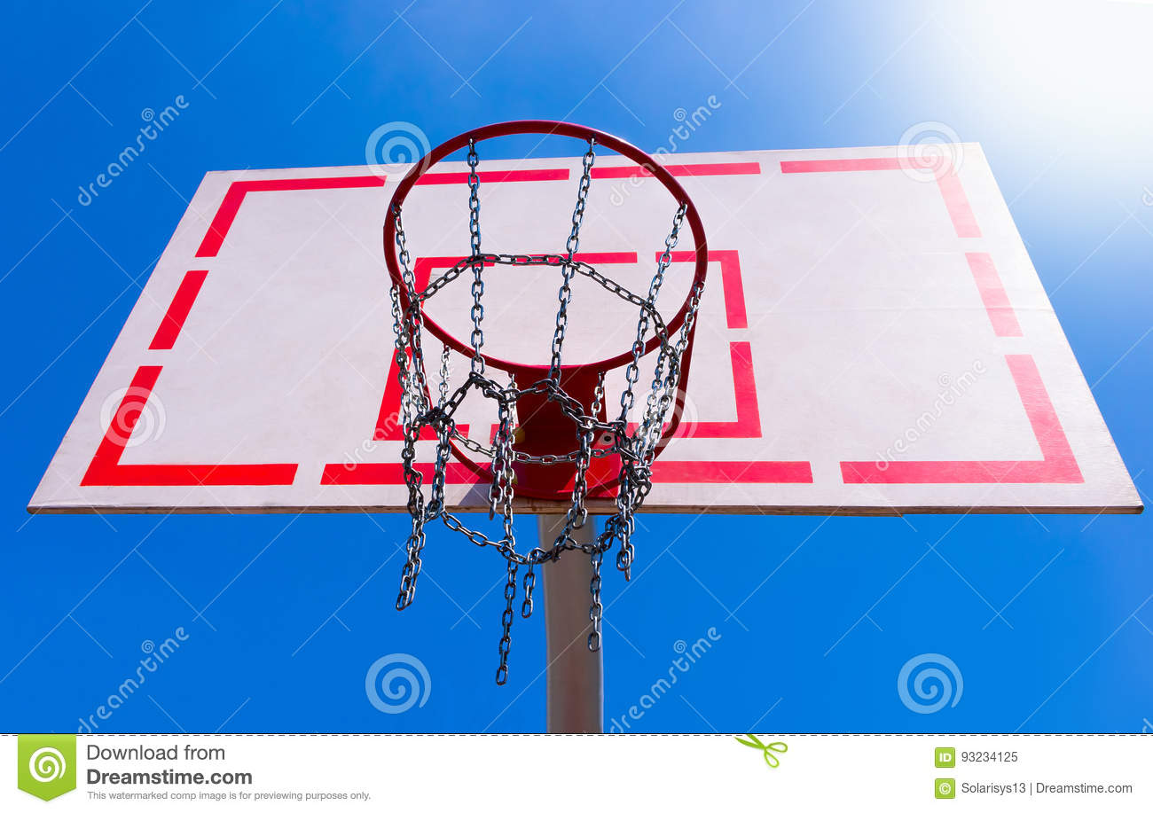 Outdoor Basketball Hoop With Blue Sky Stock Image - Image ...