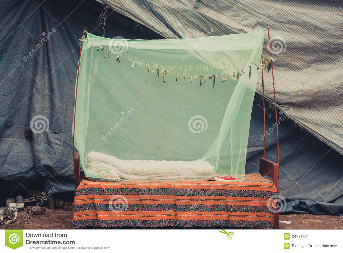 Outdoor Bed Room With Mosquito Net Stock Image Image