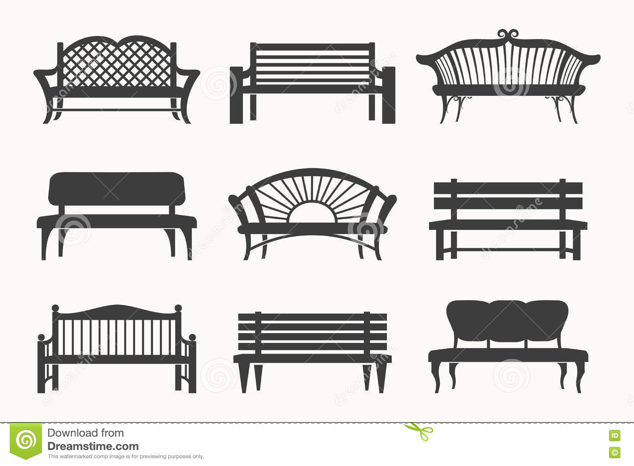 Outdoor Benches Icons Stock Vector Image 71505527