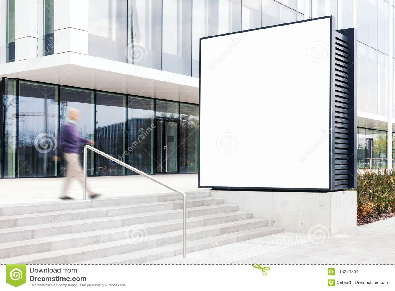 Outdoor billboard mockup in modern business district