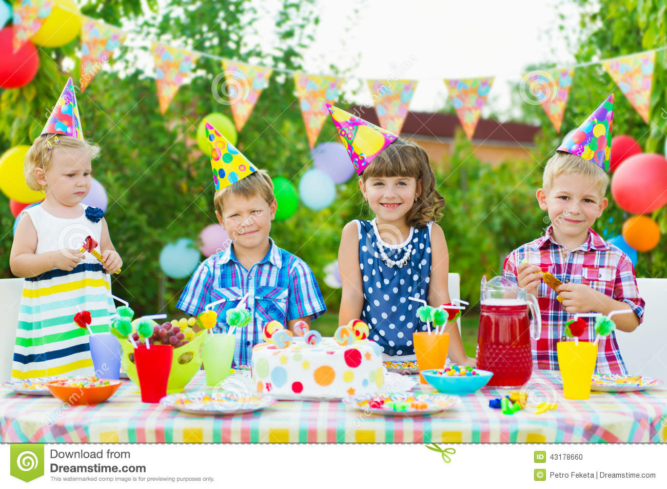 outdoor birthday party for toddlers stock photo image of festive