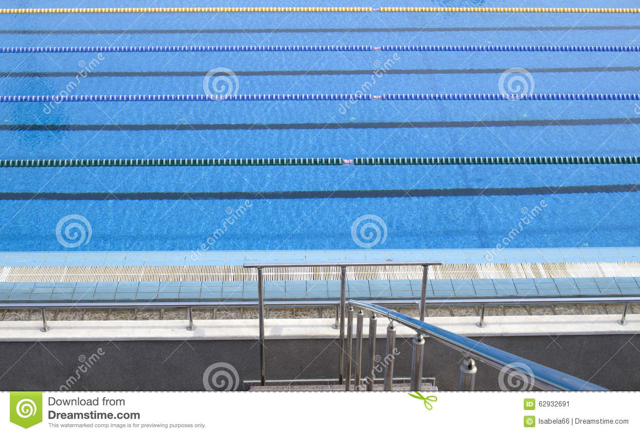 Outdoor Blank Swimming Pool With Lane Ropes Stock Photo