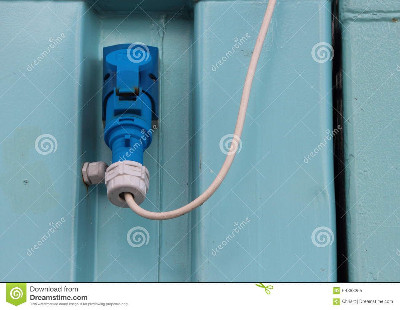 Outdoor Blue Electrical Mount Plug With White Wire Stock Image ...