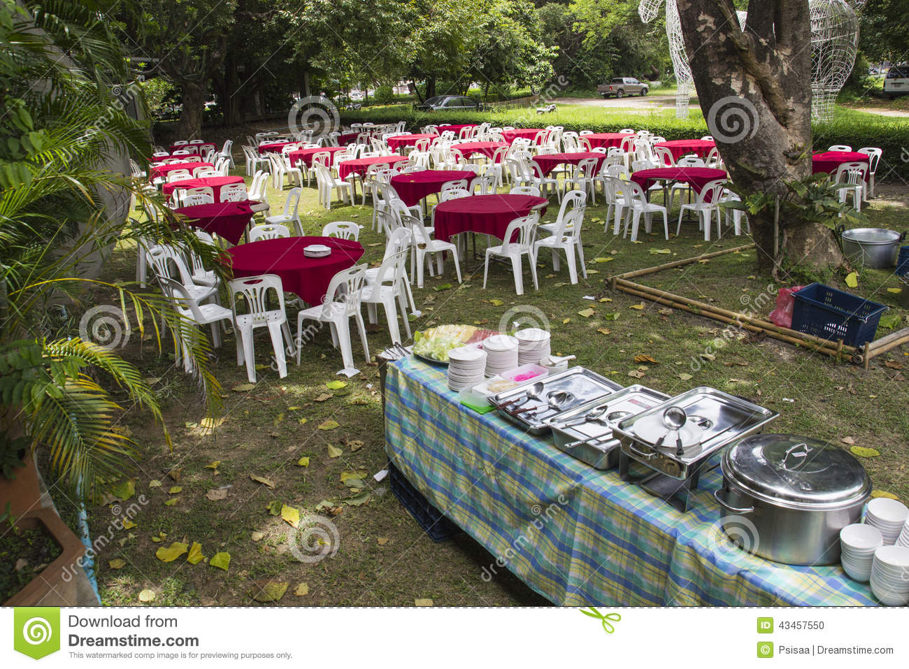 Outdoor buffet banquet stock photo image 43457550 for Meal outdoors
